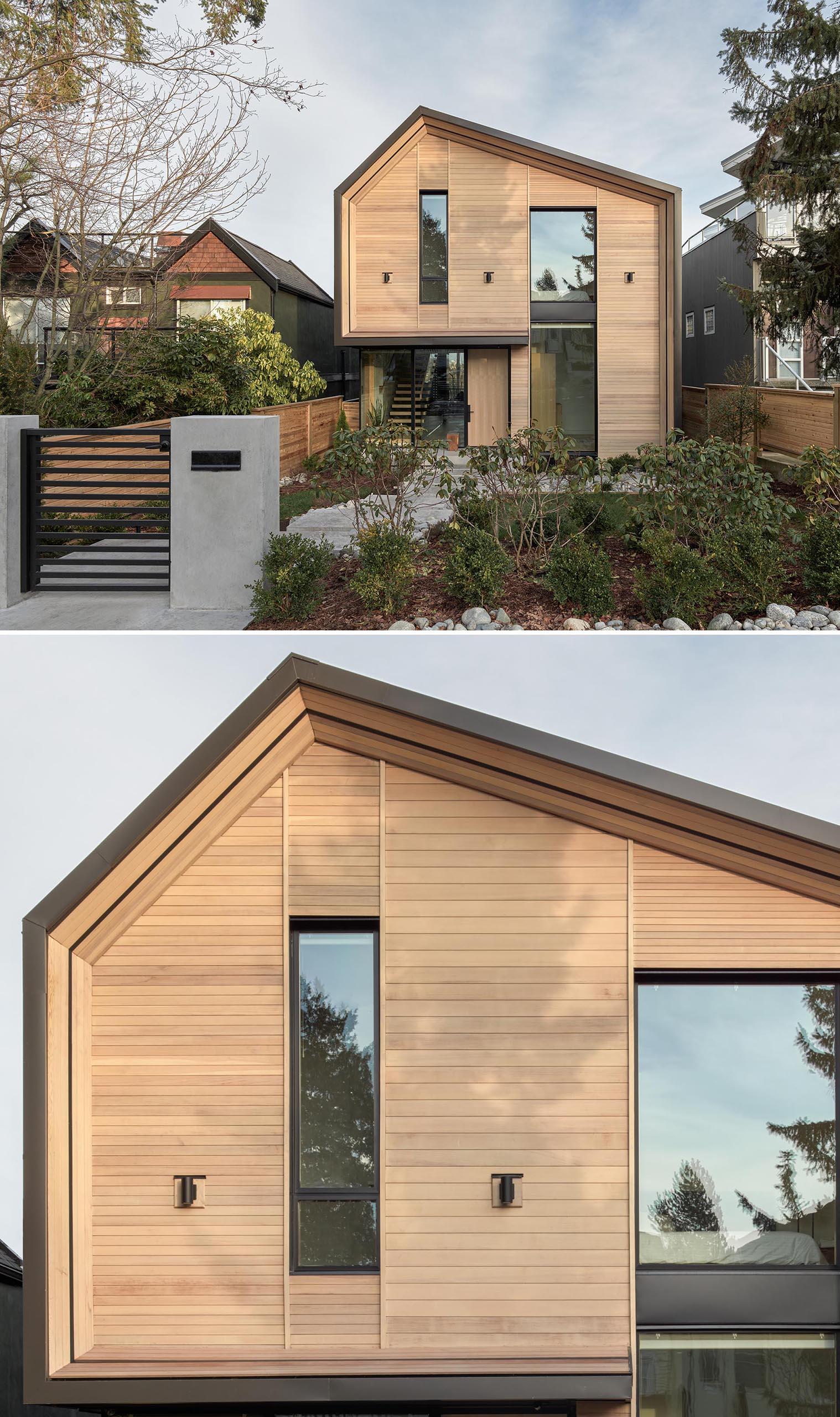 A modern house with a wood facade.