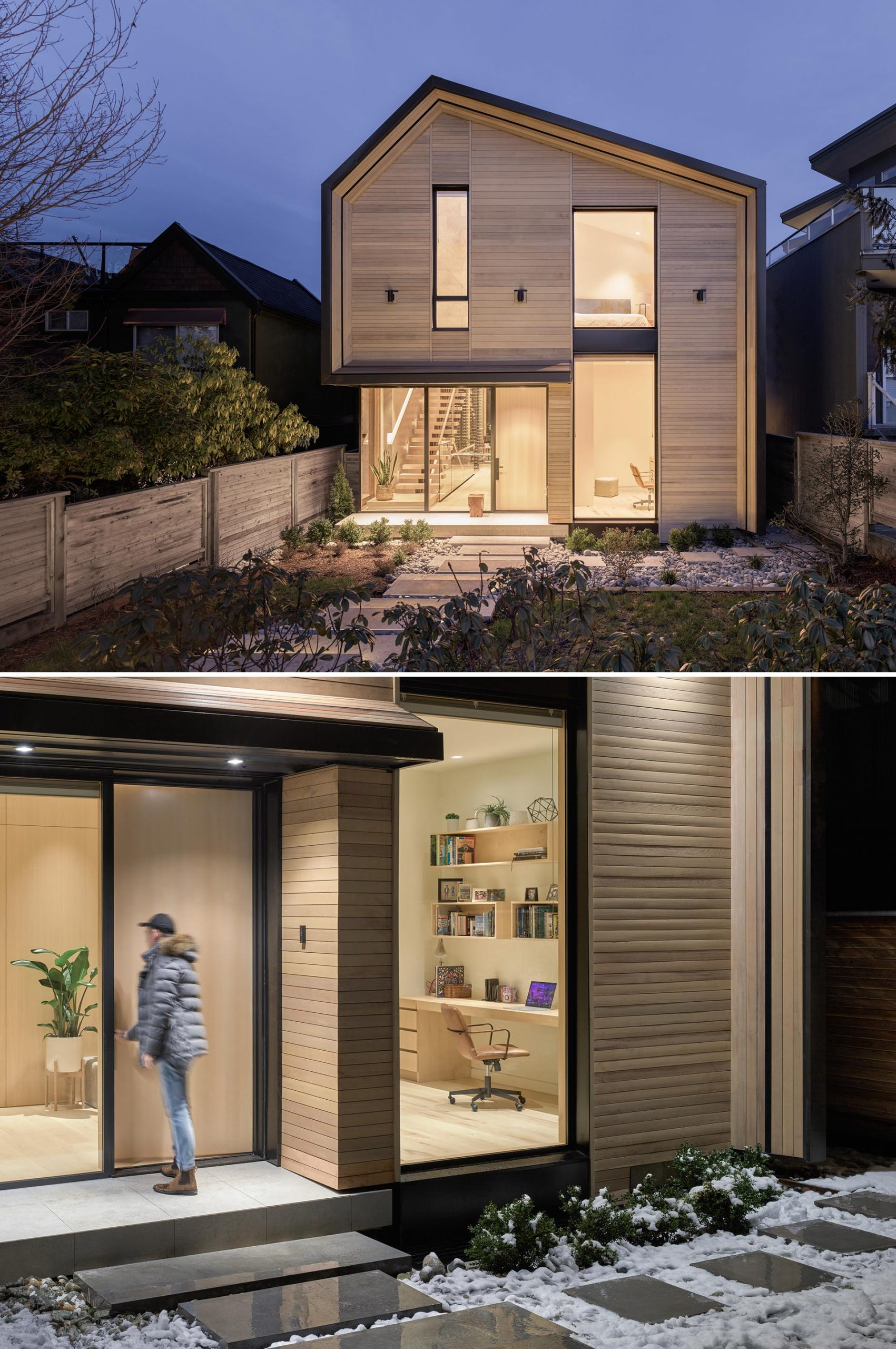 A contemporary house with cedar cladding and a metal roof.