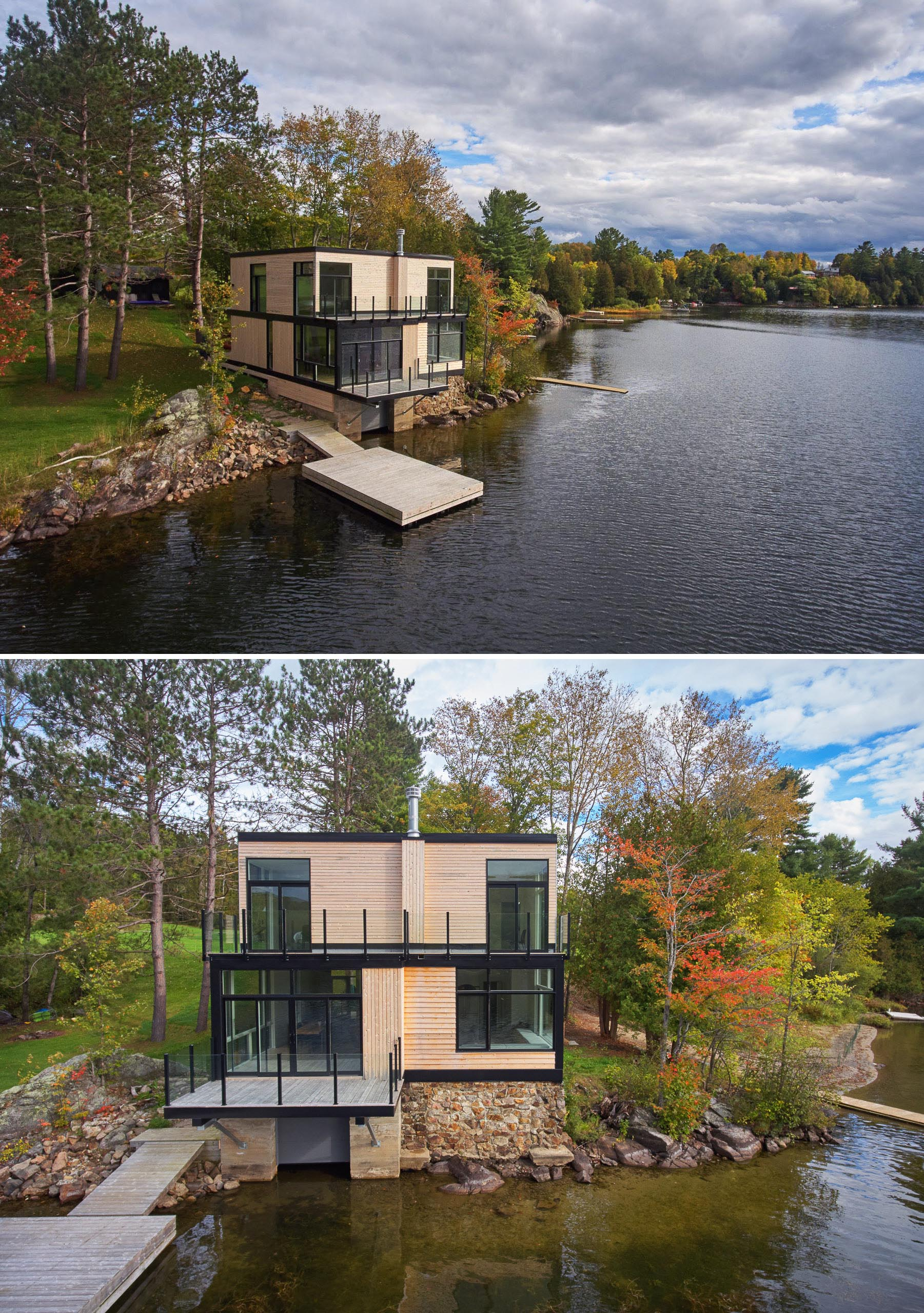 A waterfront lake house with wood siding and black details.