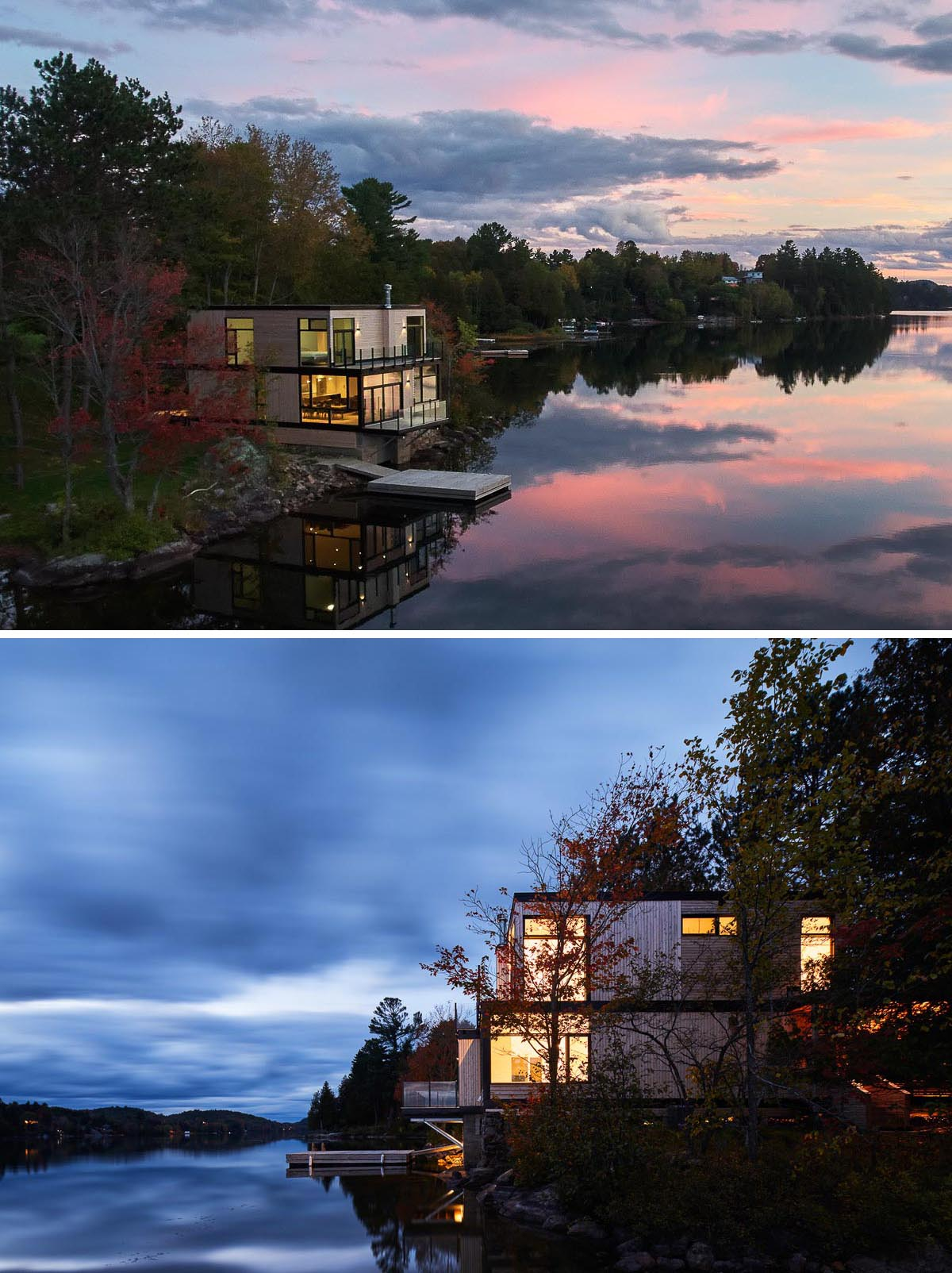 A waterfront house that has wood siding and black frame details.