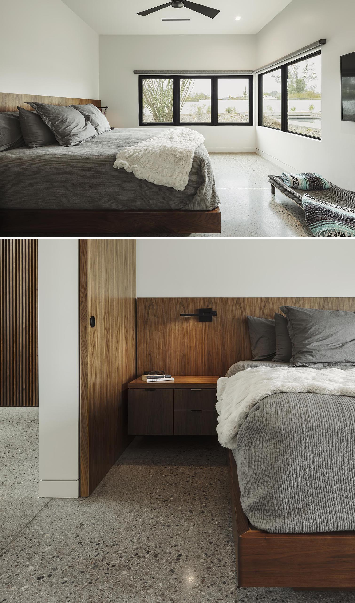 A minimalist master bedroom with a built-in wood bed frame and headboard.
