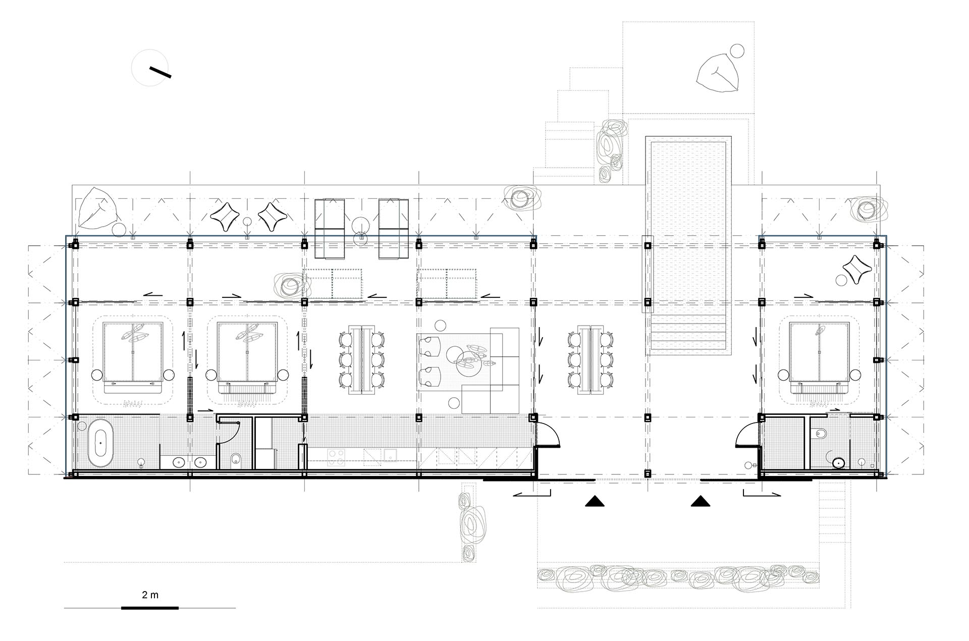 The floor plan of a three bedroom, single story house.