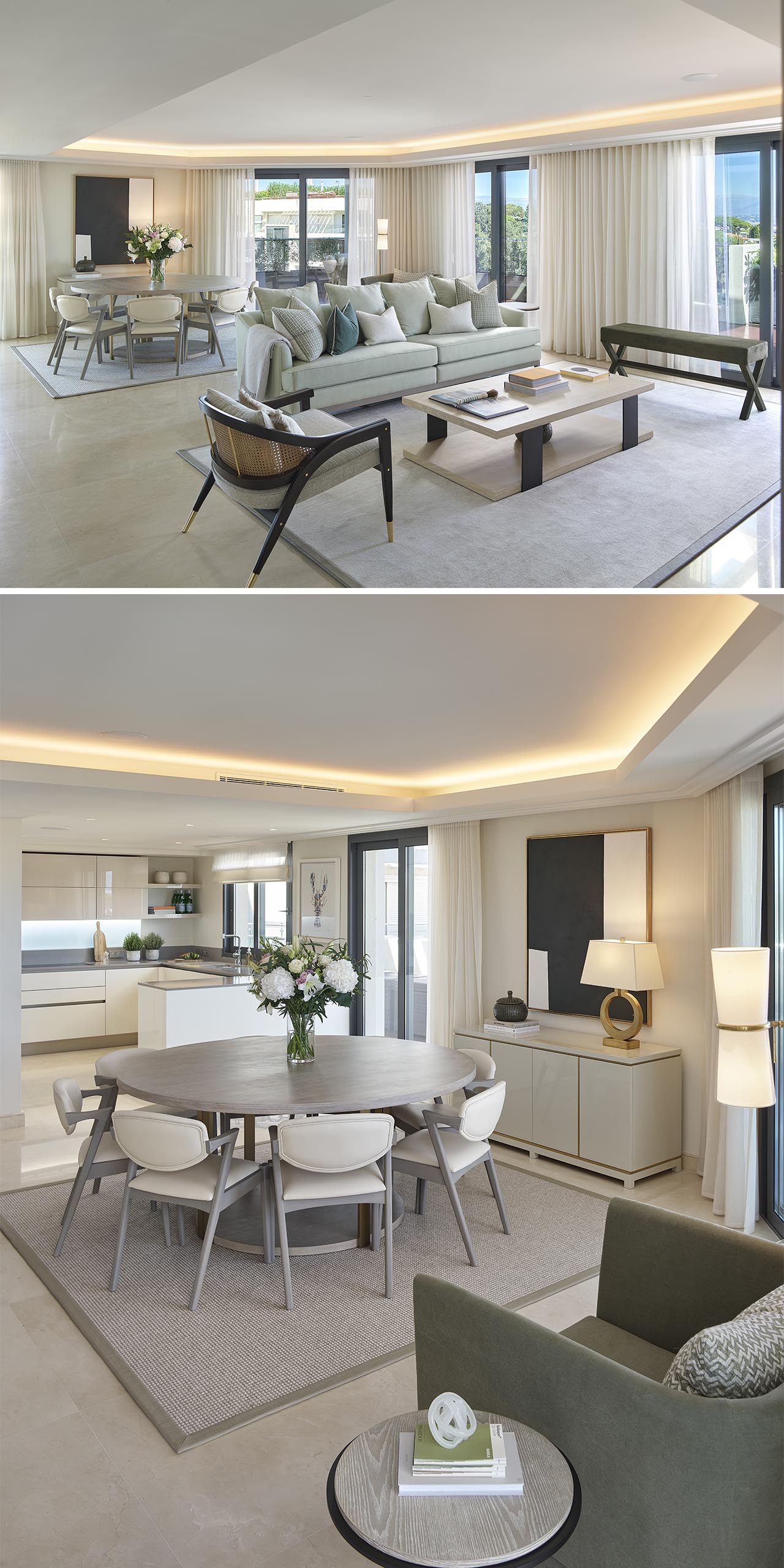 An open plan living room and dining area with recessed ceiling lighting.