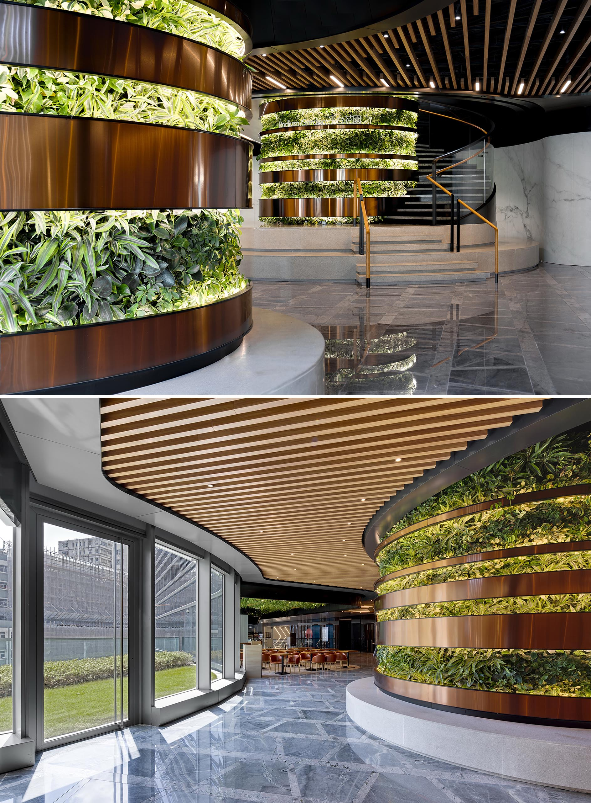 Vertical gardens separated by metallic strips have lighting to showcase the plants.
