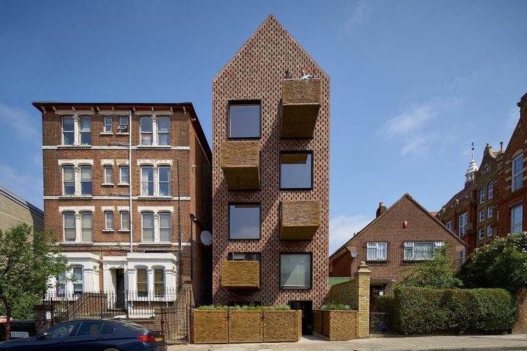 Balconies Made From Woven Wicker Adorn This Apartment Building In London