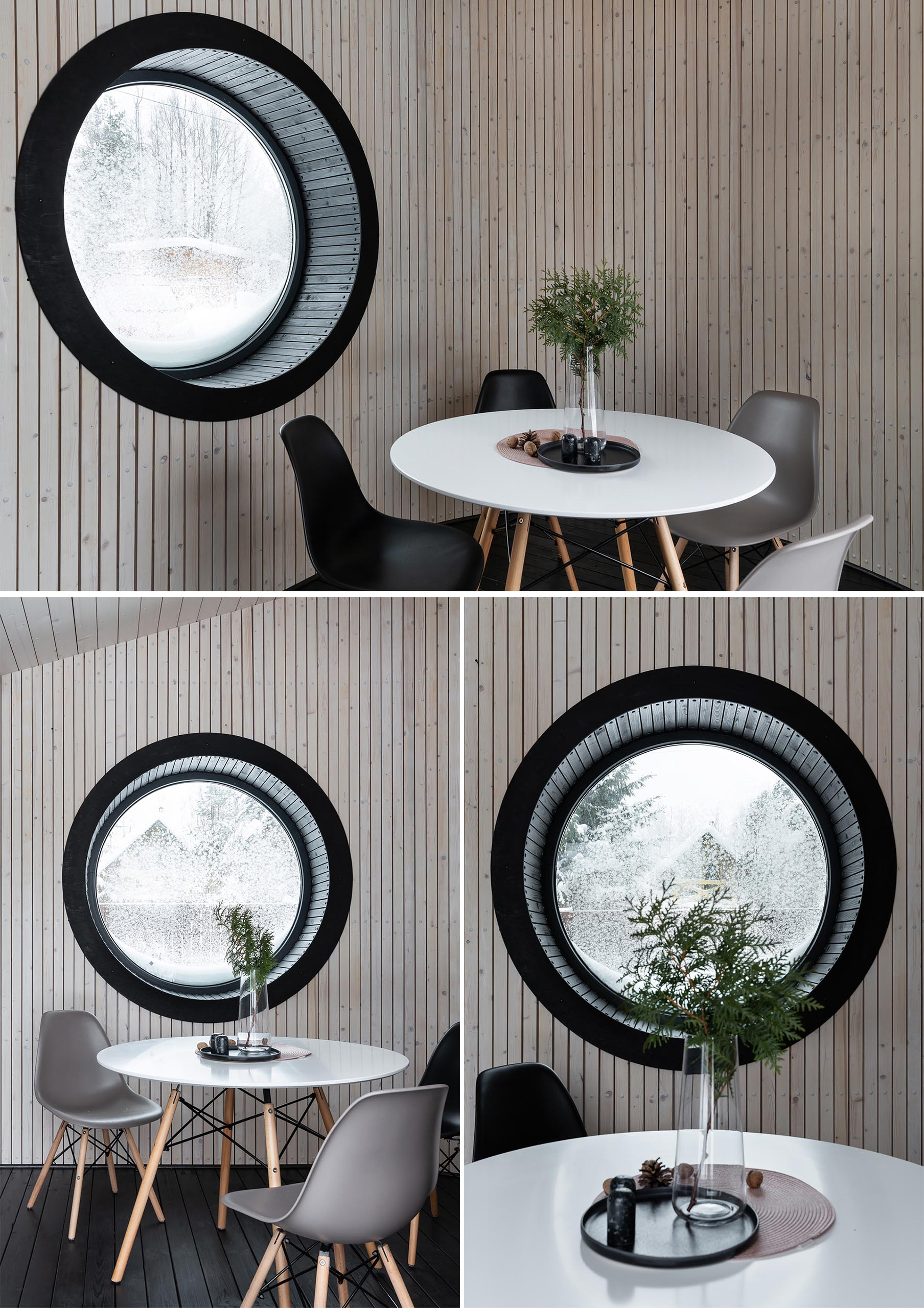 A round deep window with a black frame.