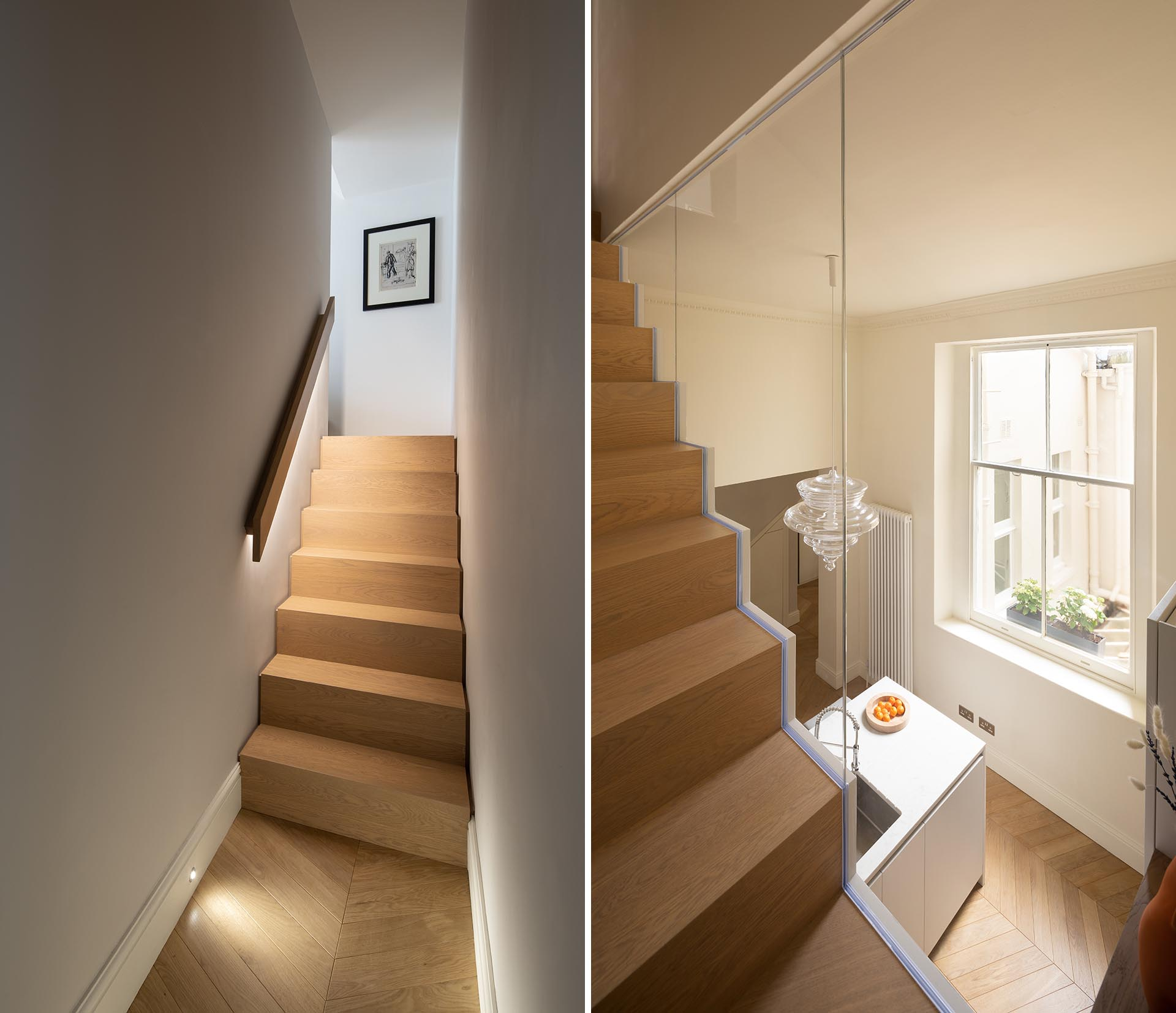 Oak stairs with hidden lighting under the handrail and a window that looks over the kitchen.