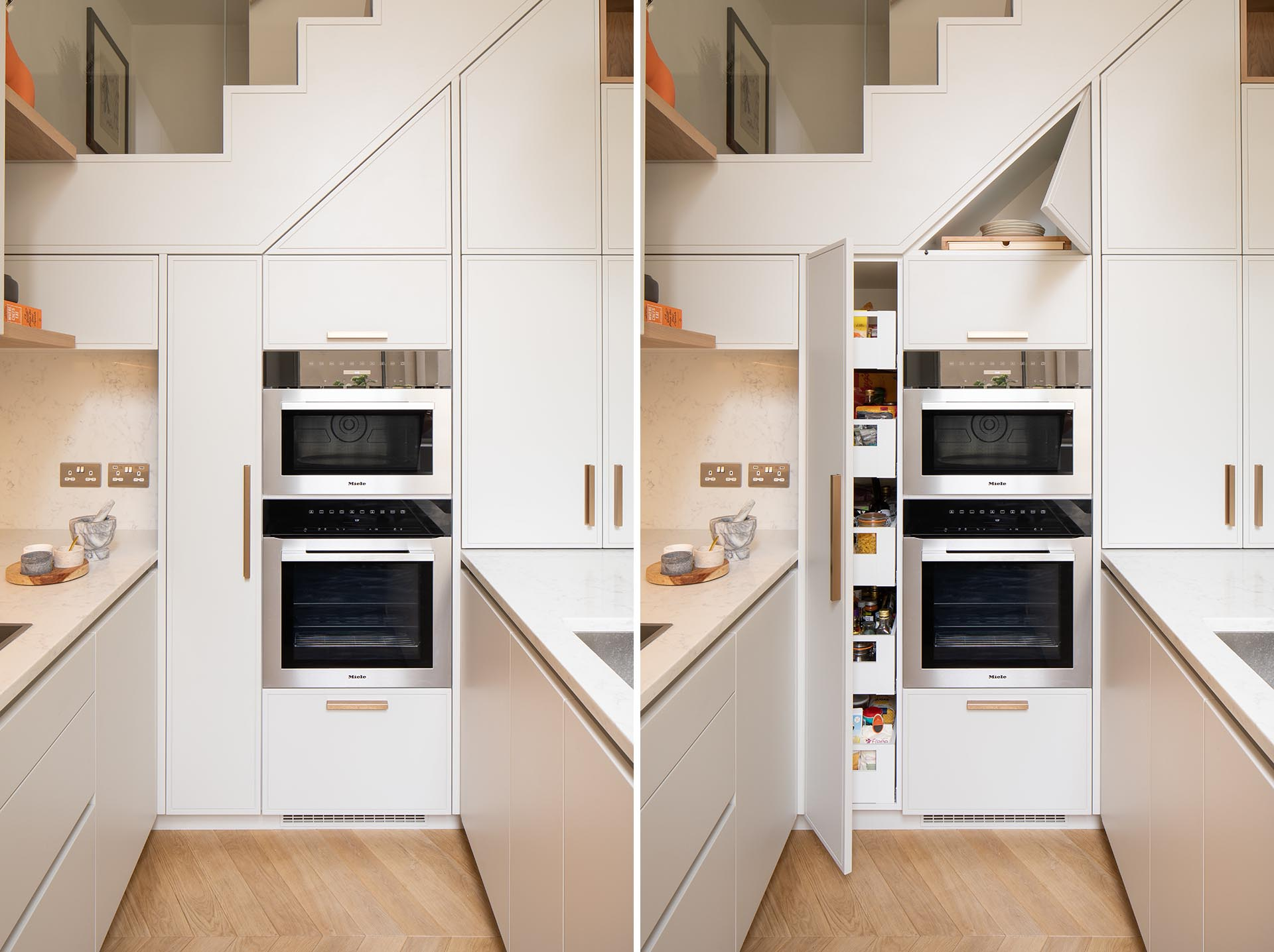 A tall storage cabinet with pull-out drawers next to the ovens, while above there's a triangular cabinet that provides even more storage.