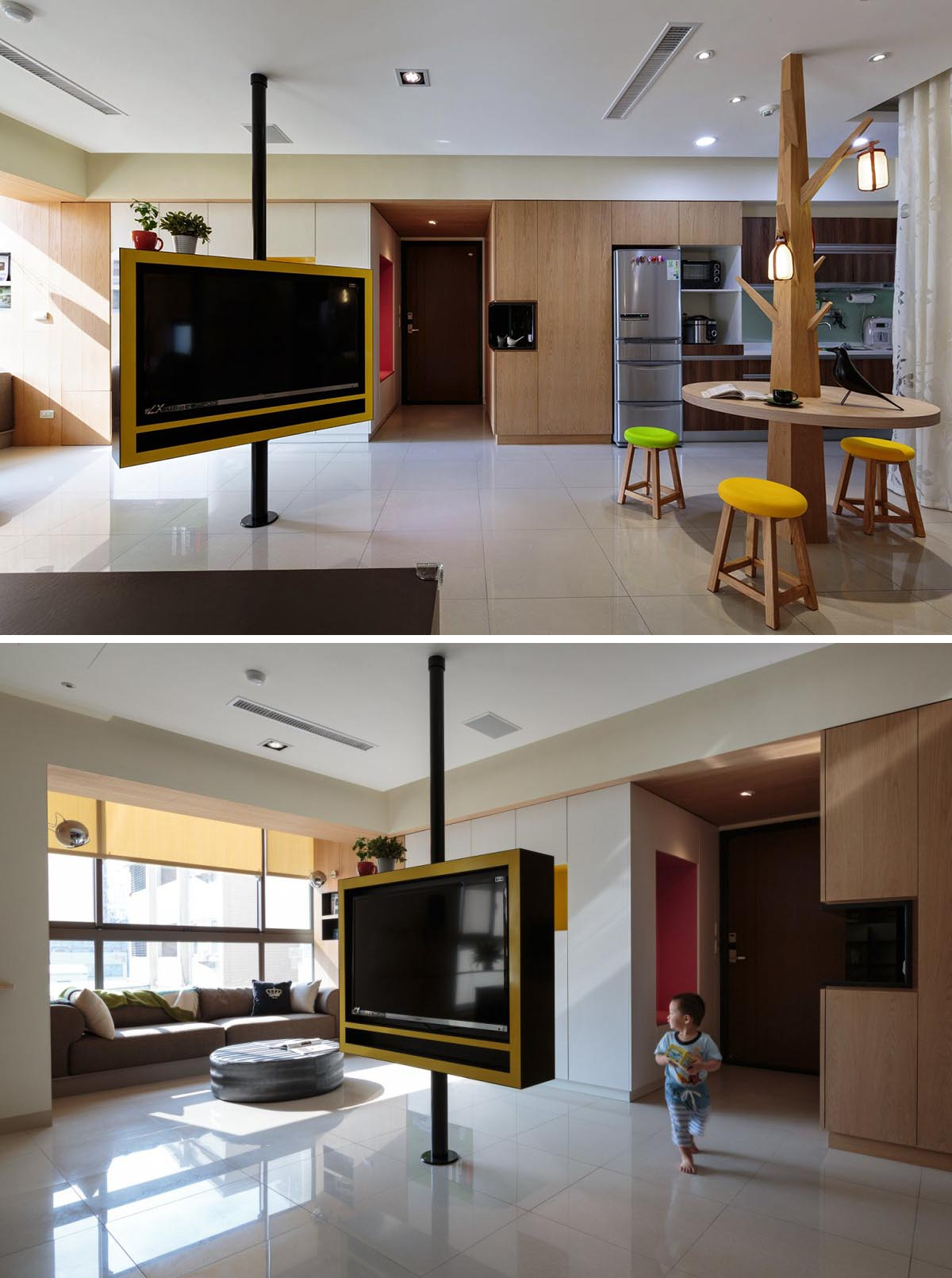 A rotating television that can be enjoyed from any room in this open plan apartment interior.