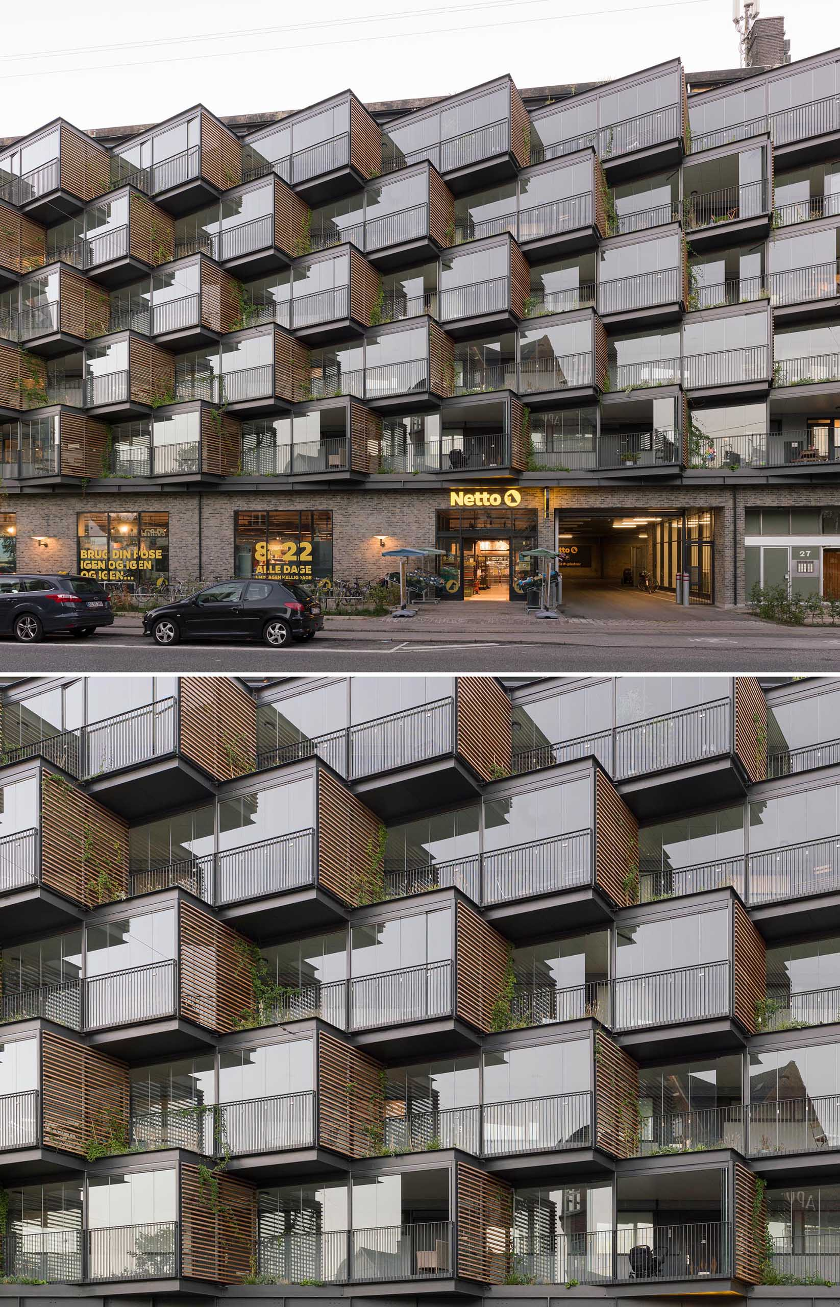 A new facade creates semi-private balconies and green spaces.