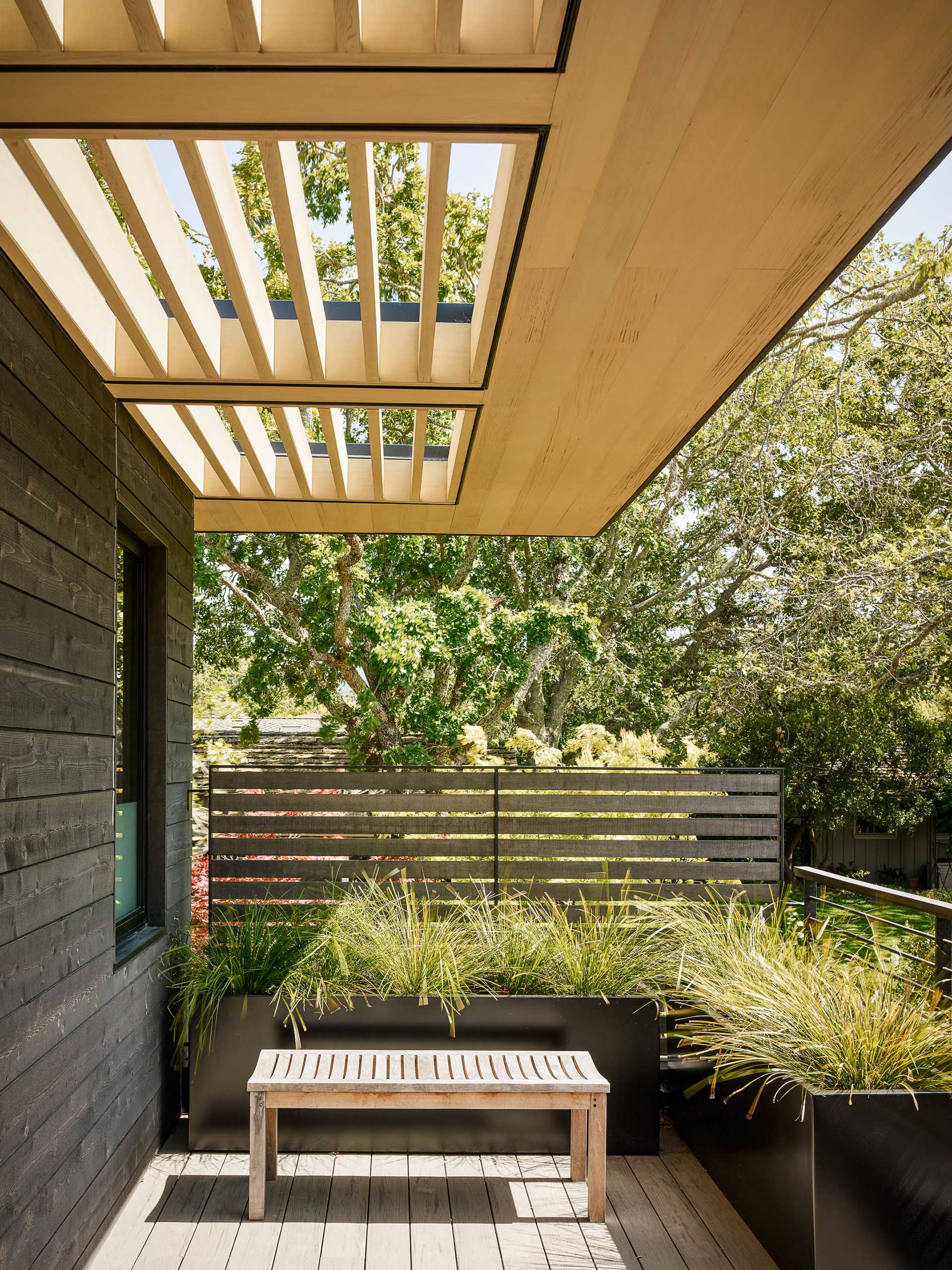 A modern house exterior with black-stained cedar siding, light wood sunscreens, and black planters.