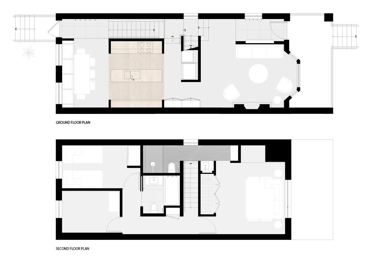 The floor plan for a modern two story house.