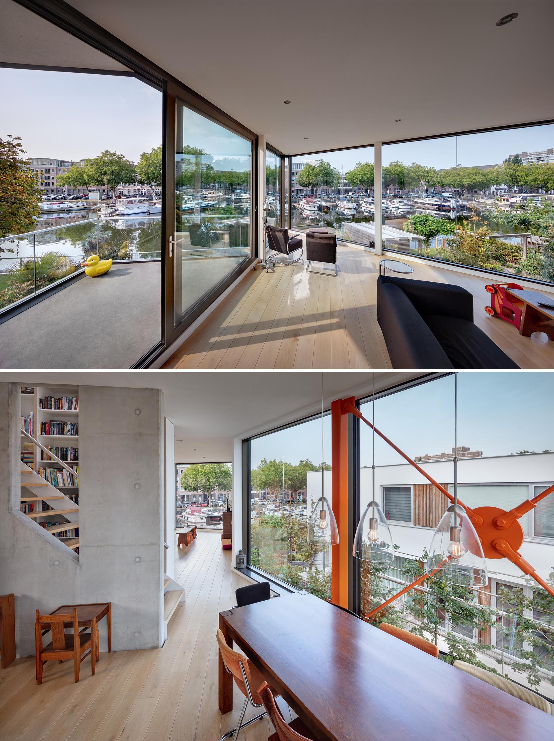 Glass walls provide unobstructed views.