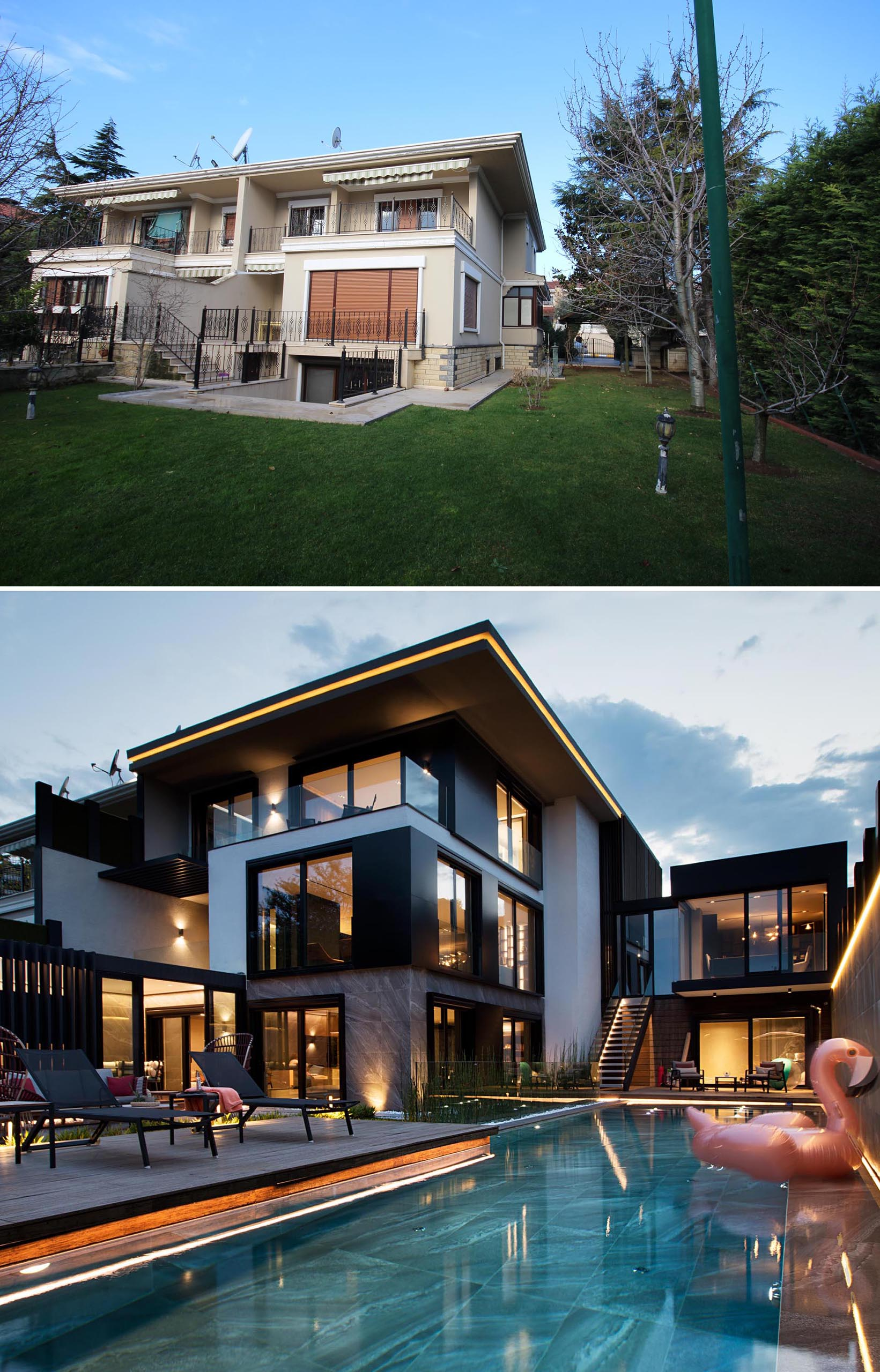 A modern house and yard renovation.