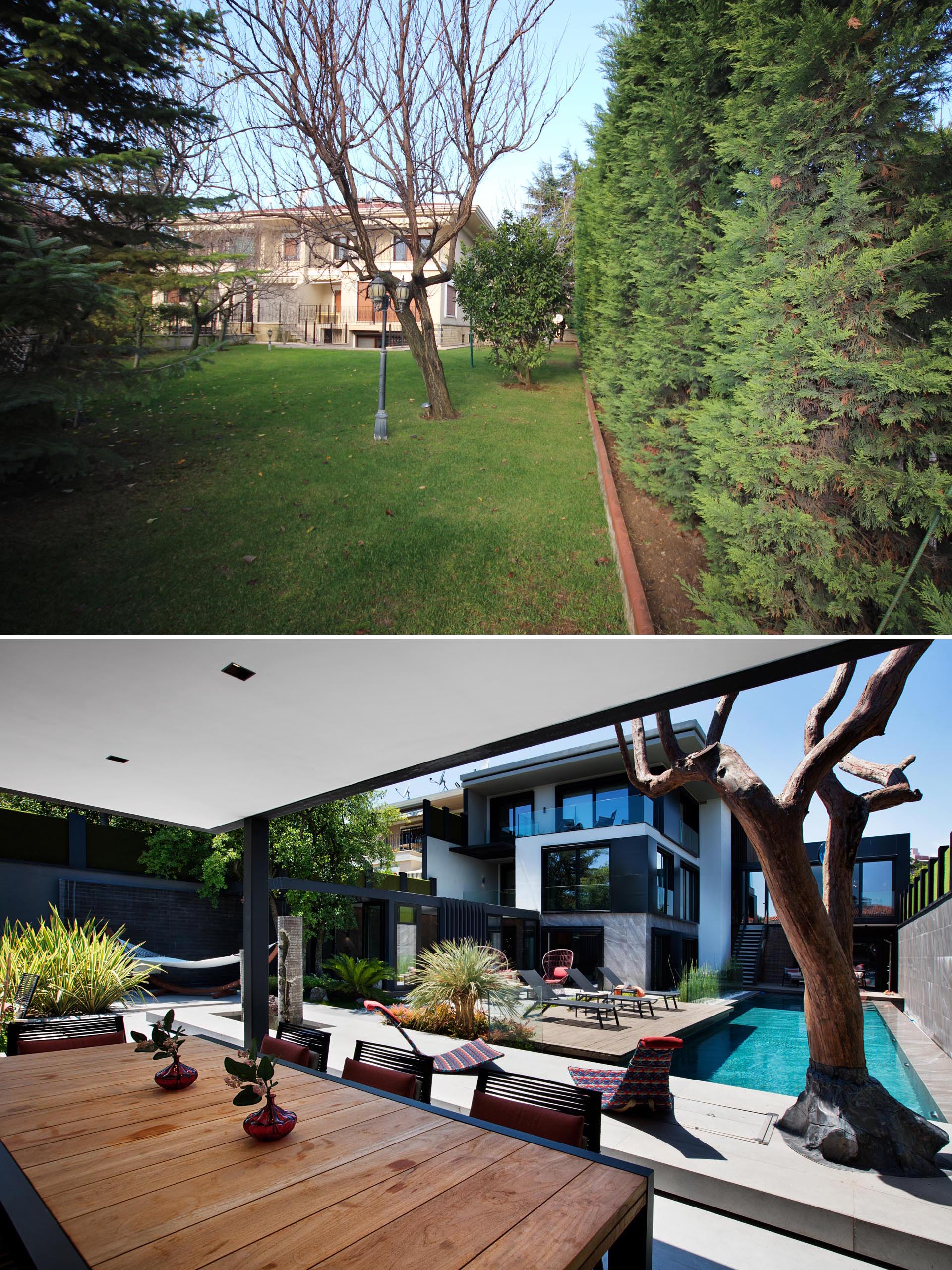 A yard renovation with a swimming pool, sunbathing deck, outdoor lounge, and covered dining area.