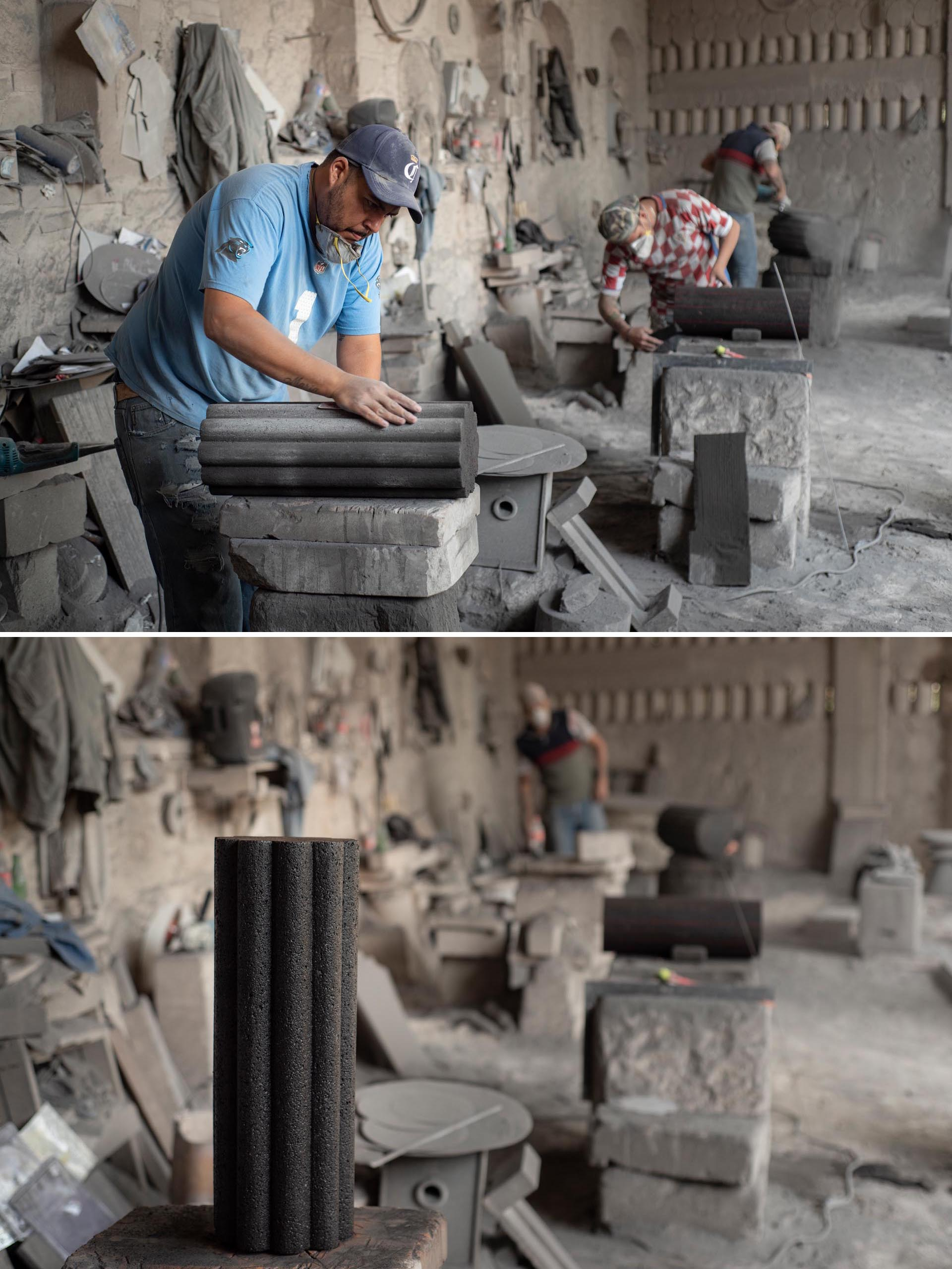 The making of a side table from volcanic rock.