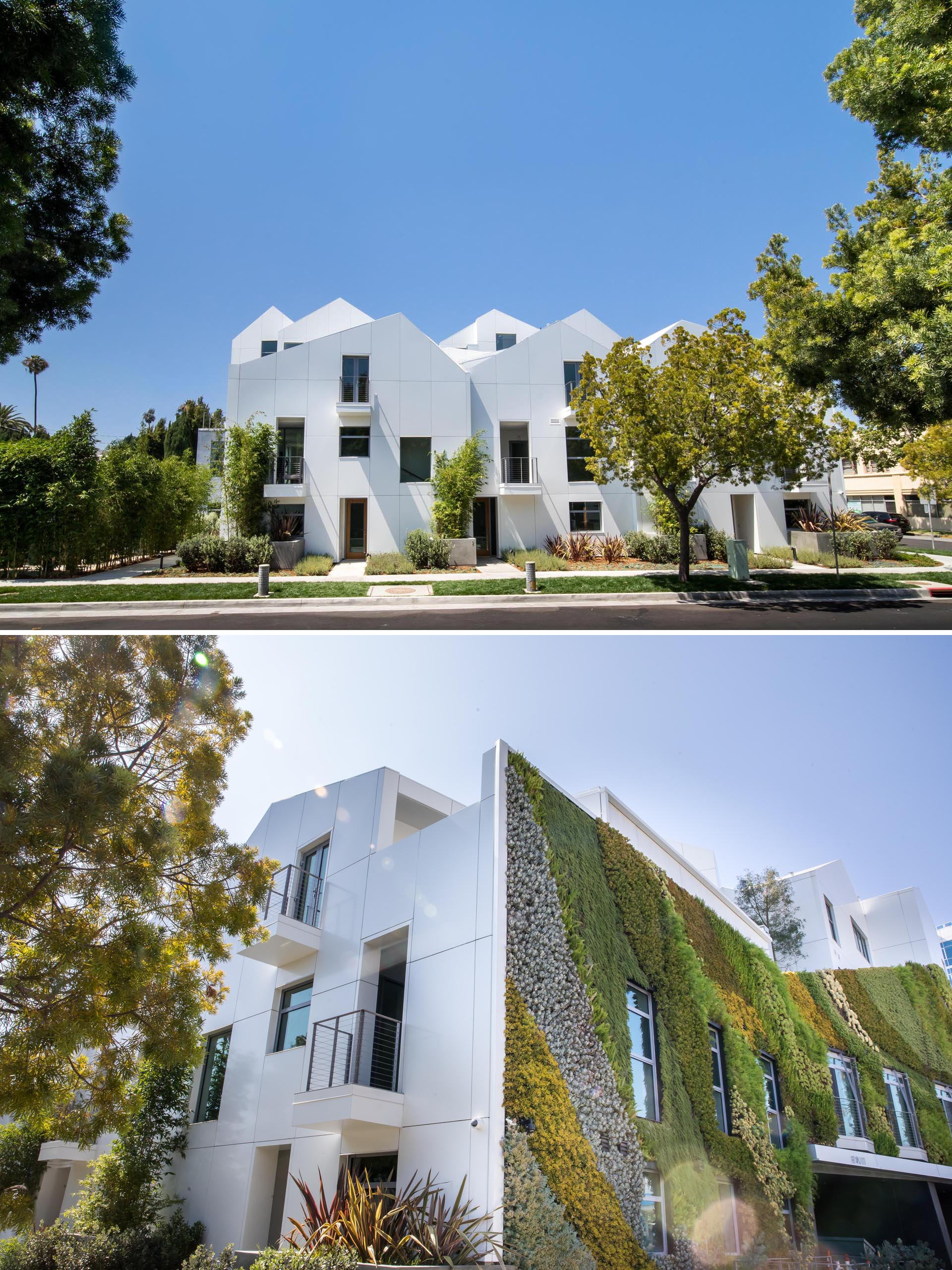 A modern residential building with a large living wall.