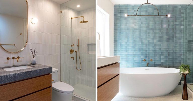 Two Bathrooms In The Same Home That Each Have A Distinct Style