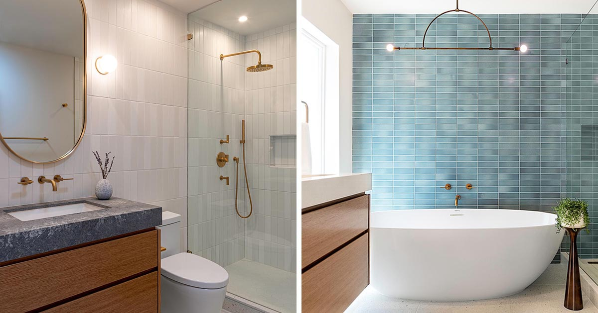 Two modern bathrooms in the same home that each have a distinct and unique style, yet they also coordinate with one another through similar finishes.