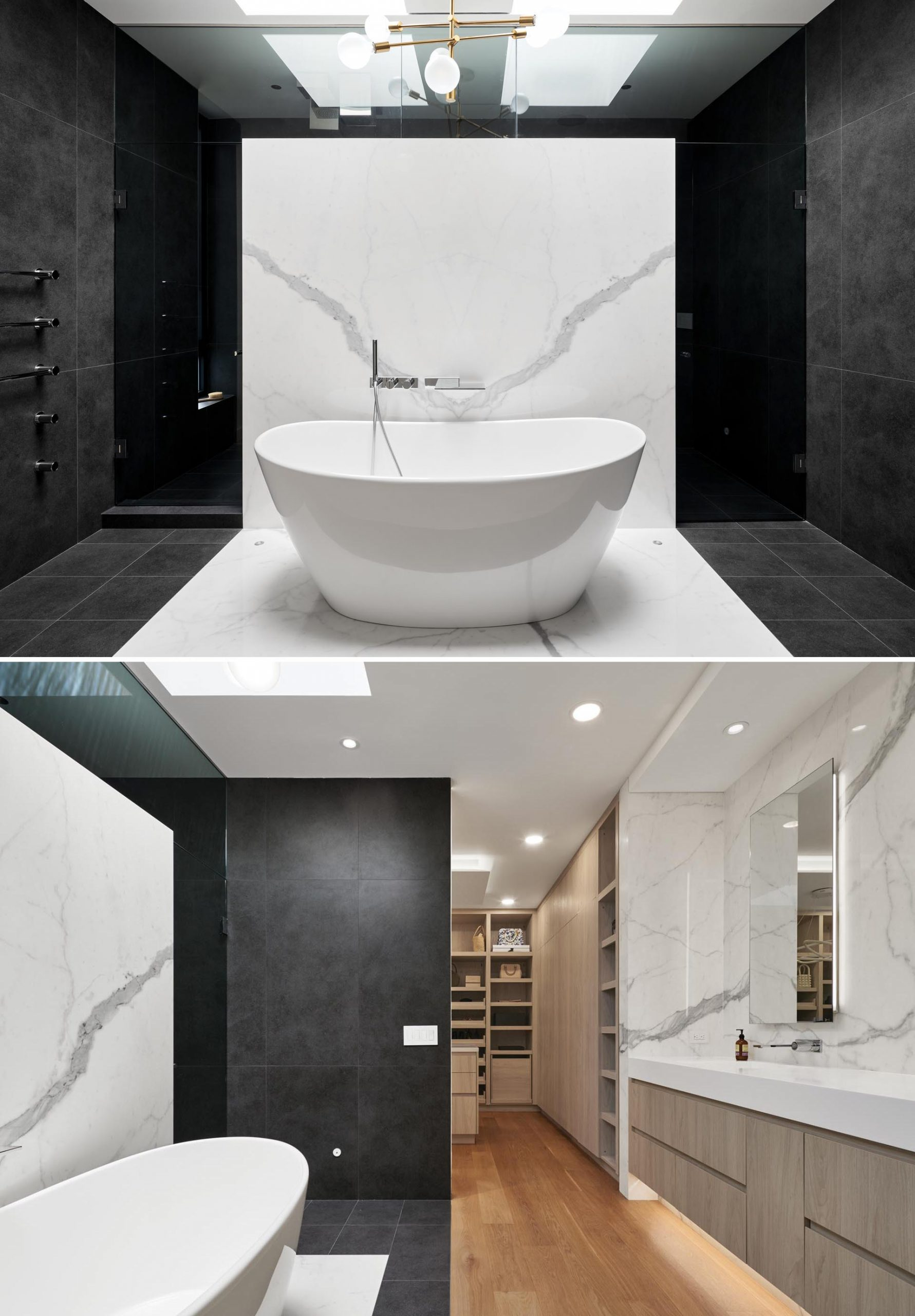 In this master bathroom, white and black porcelain slabs are combined to create a dramatic contrast.
