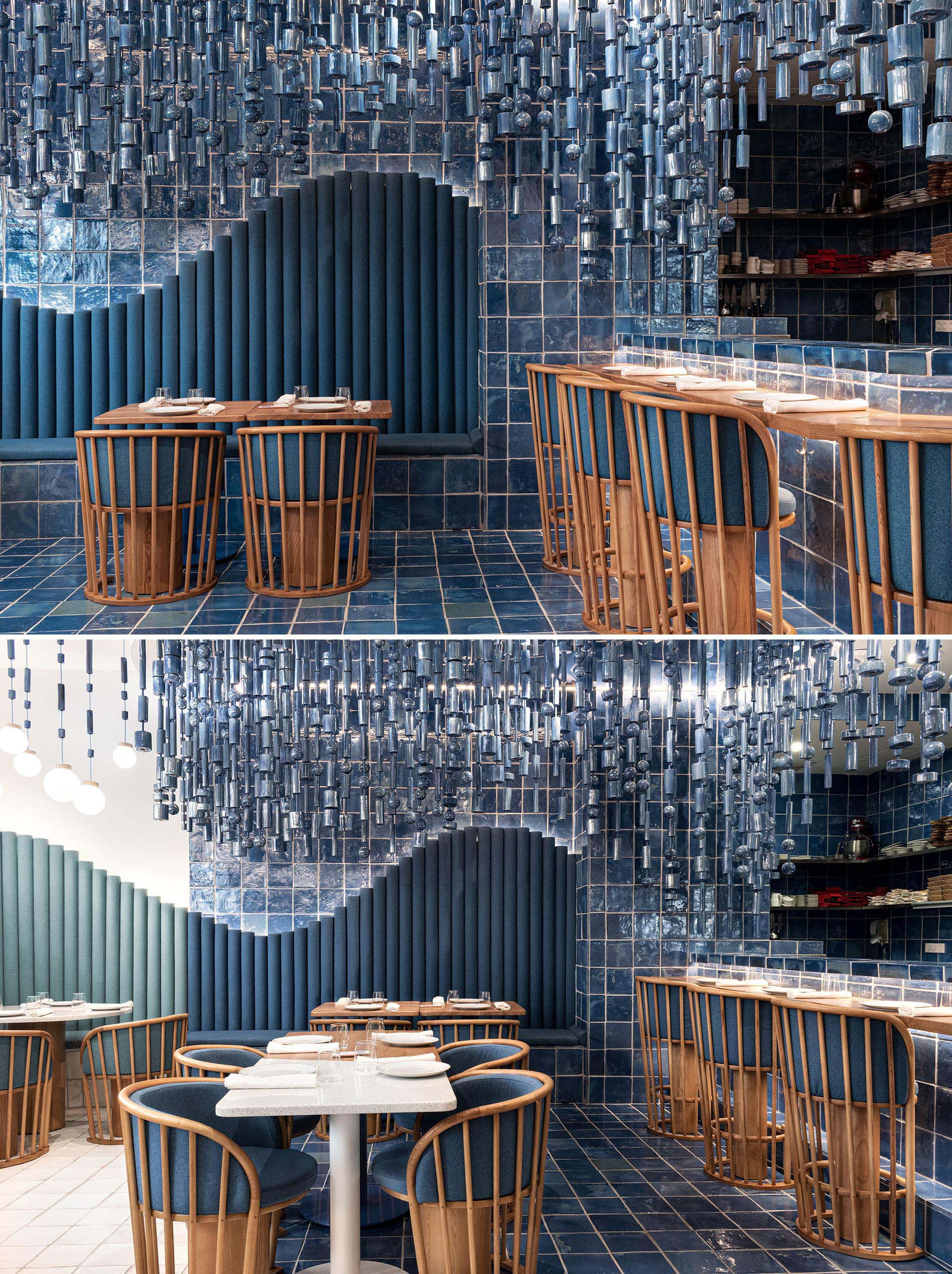 A modern restaurant with blue tiles was inspired by the sea and waves.