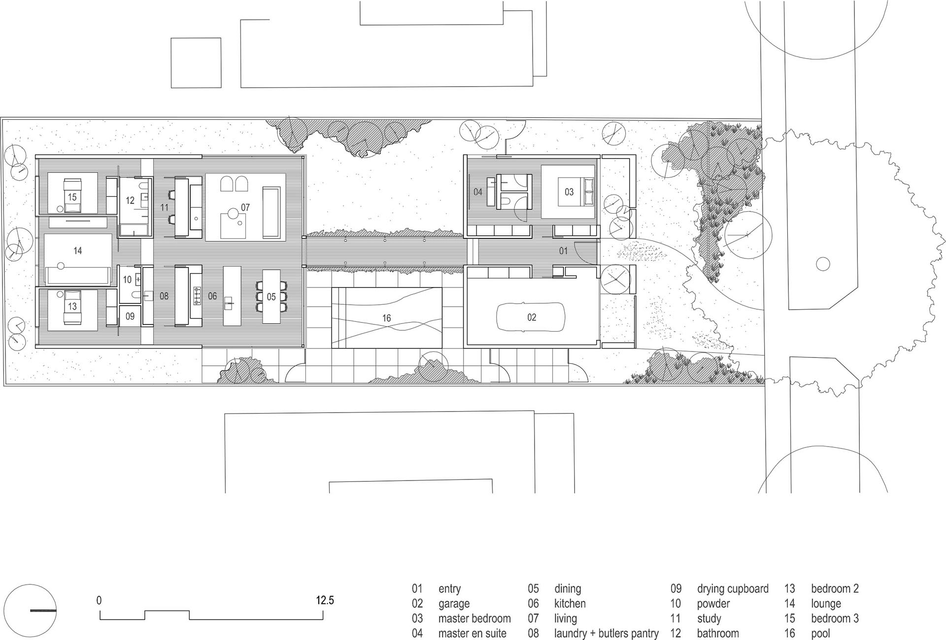 The floor plan of a modern house.