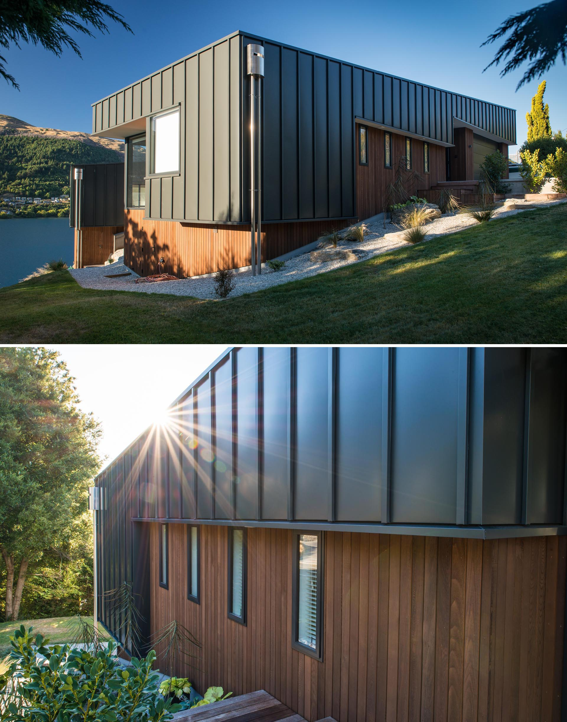 A modern house with matte black metal siding and wood accents.