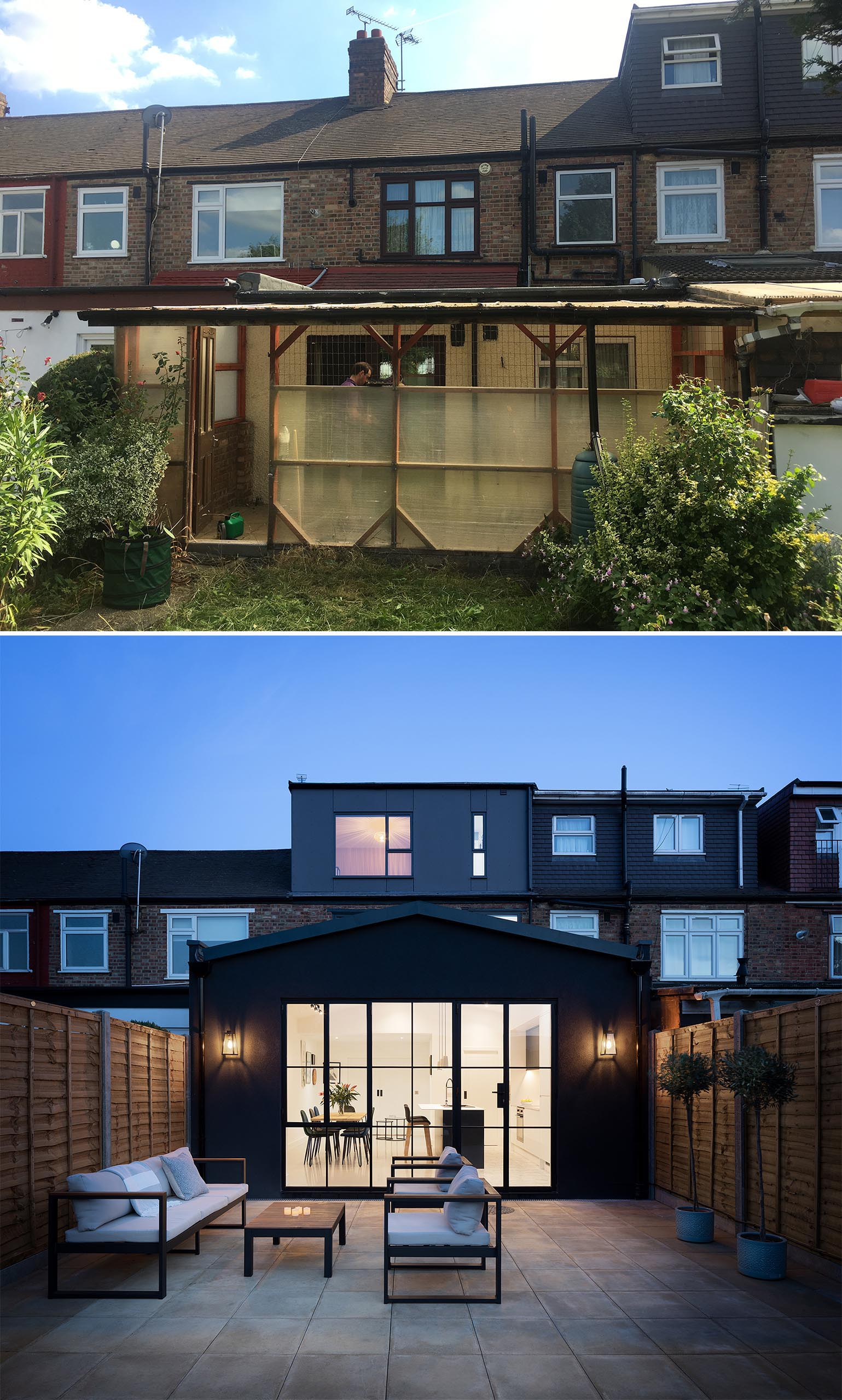 Before & After - A modern house extension that includes a new kitchen and dining room.