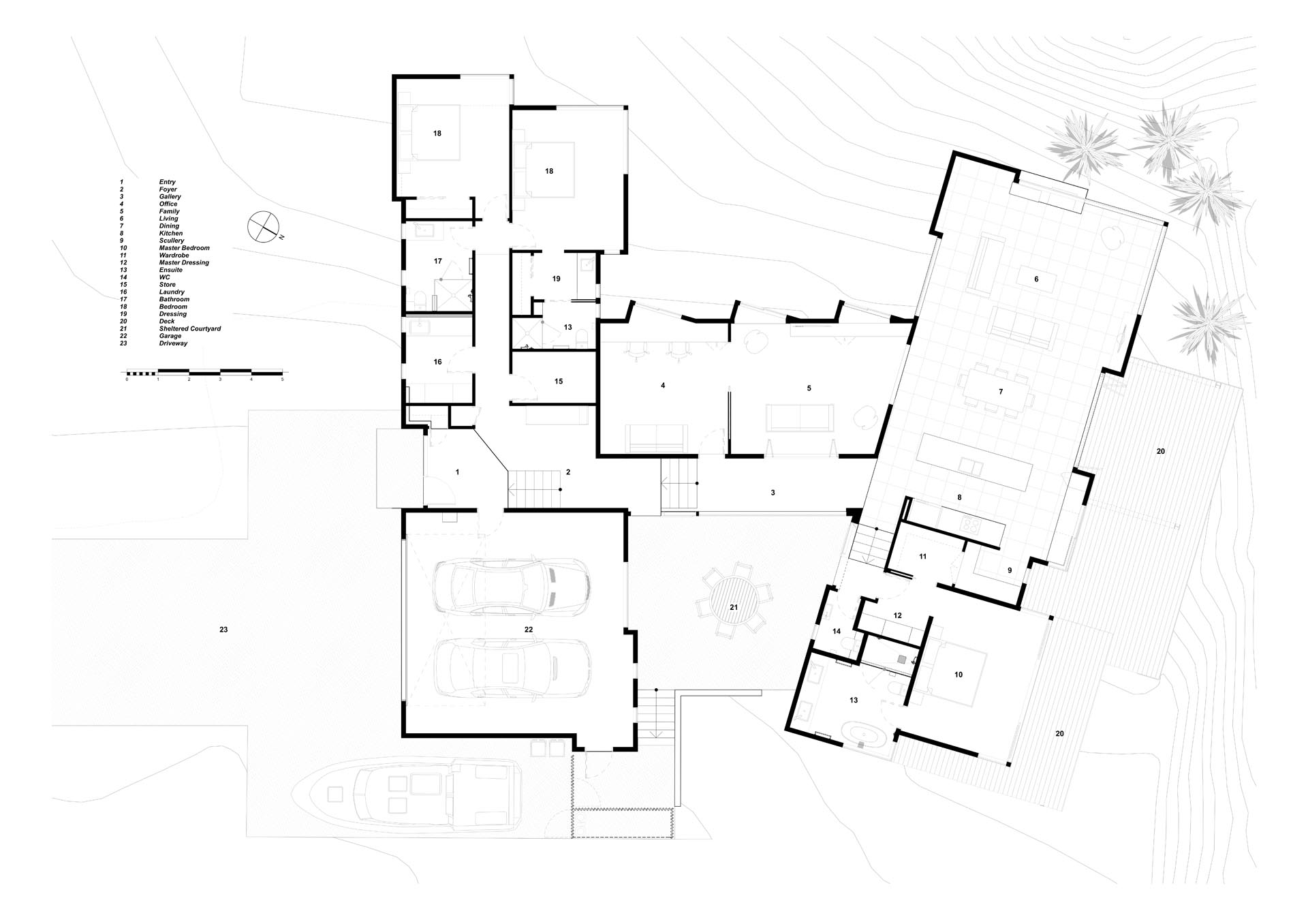 A modern house floor plan with a sheltered courtyard.