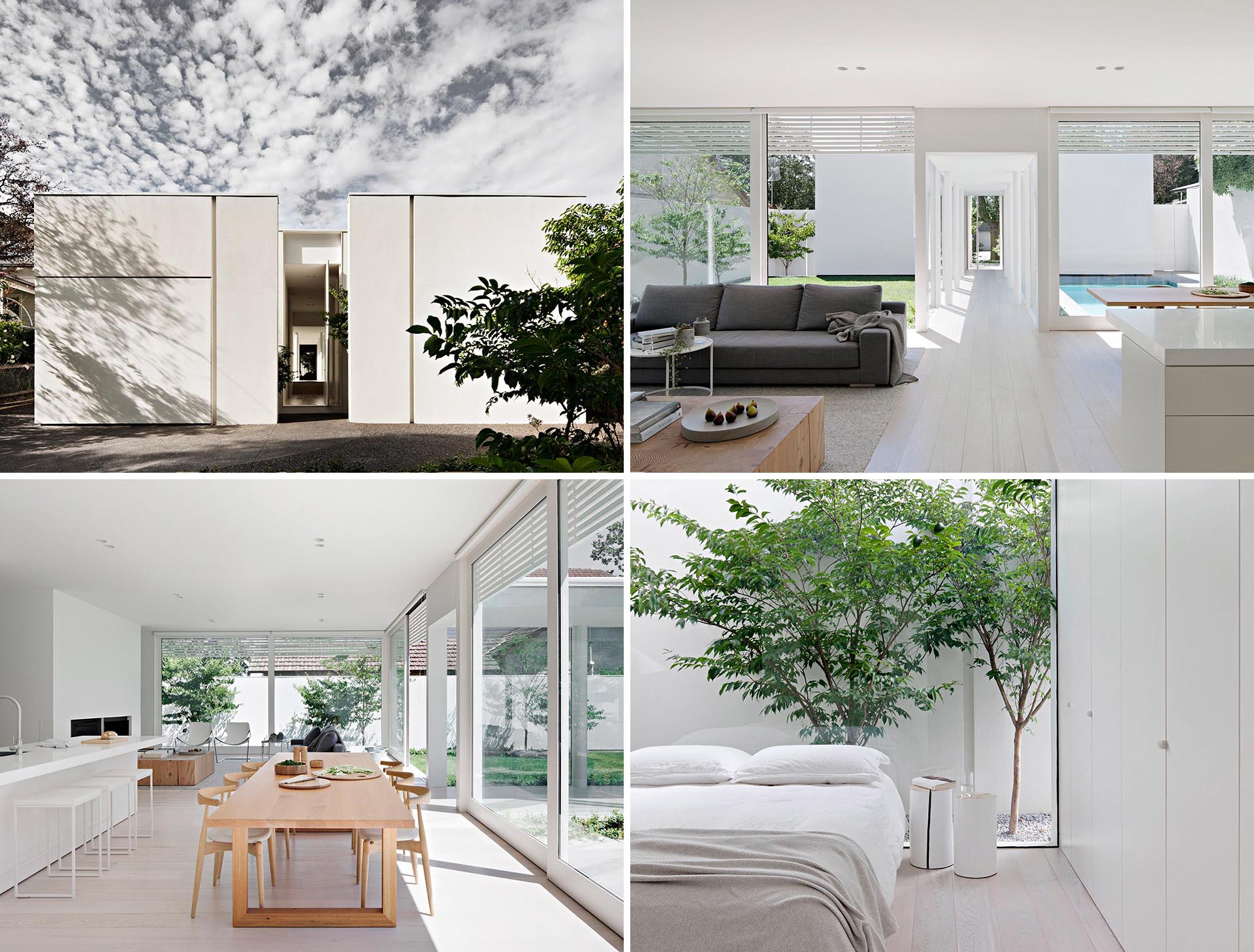 A modern house with a white exterior, and a matching bright white interior.