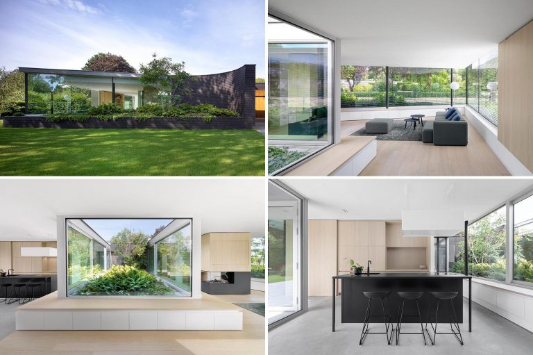 This Home Combines A Black Brick Exterior With Large Glass Walls For A Strong Contemporary Design