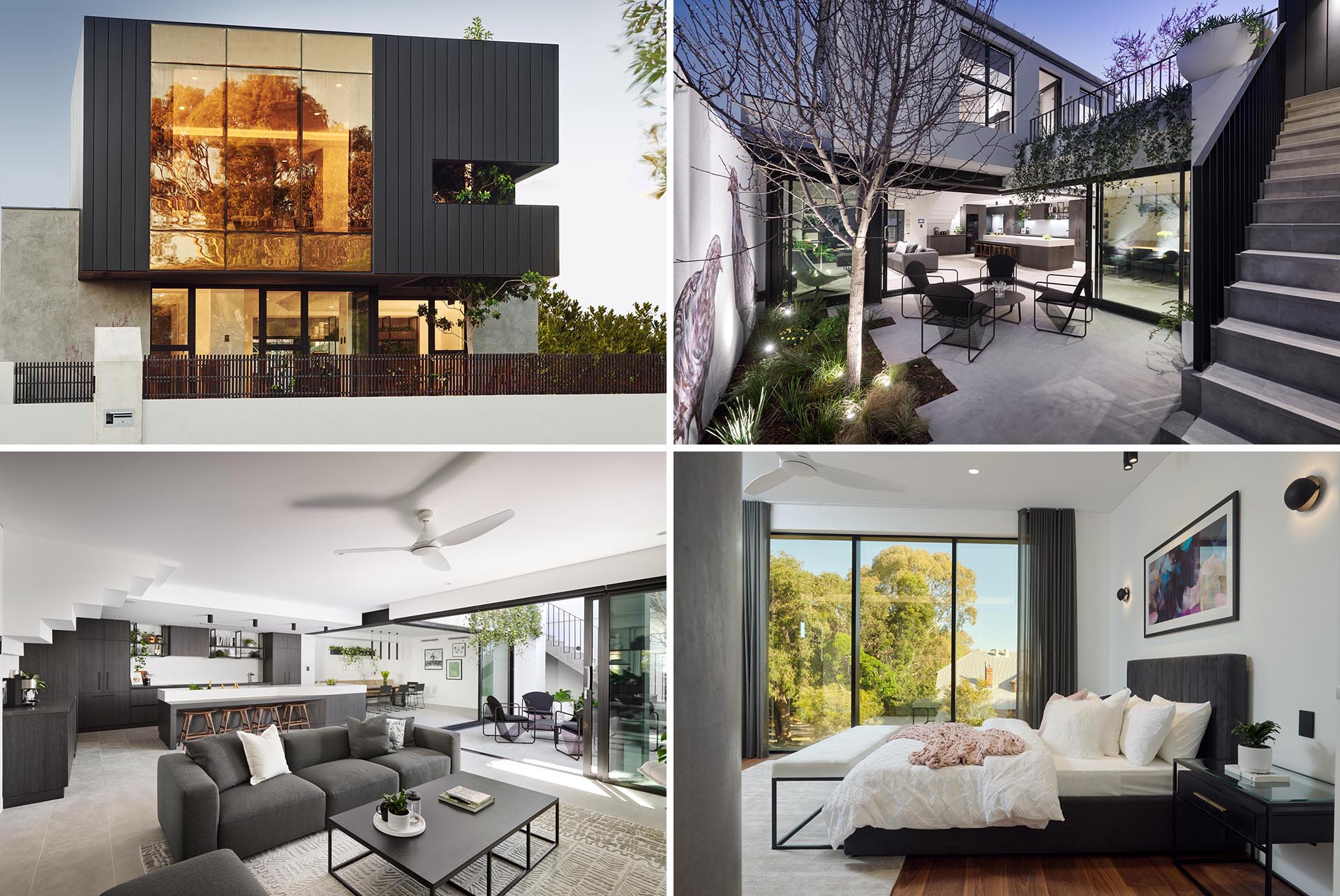 A modern house with an open floor plan and a grey color palette.