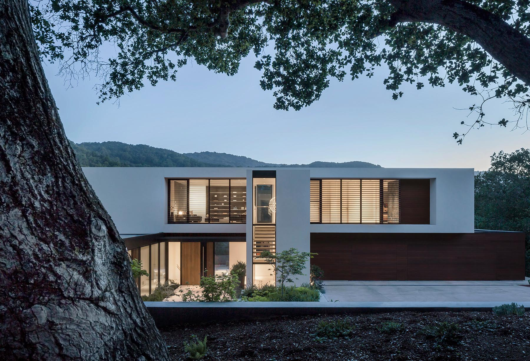 An angular and modern home design with a white exterior and wood accents.