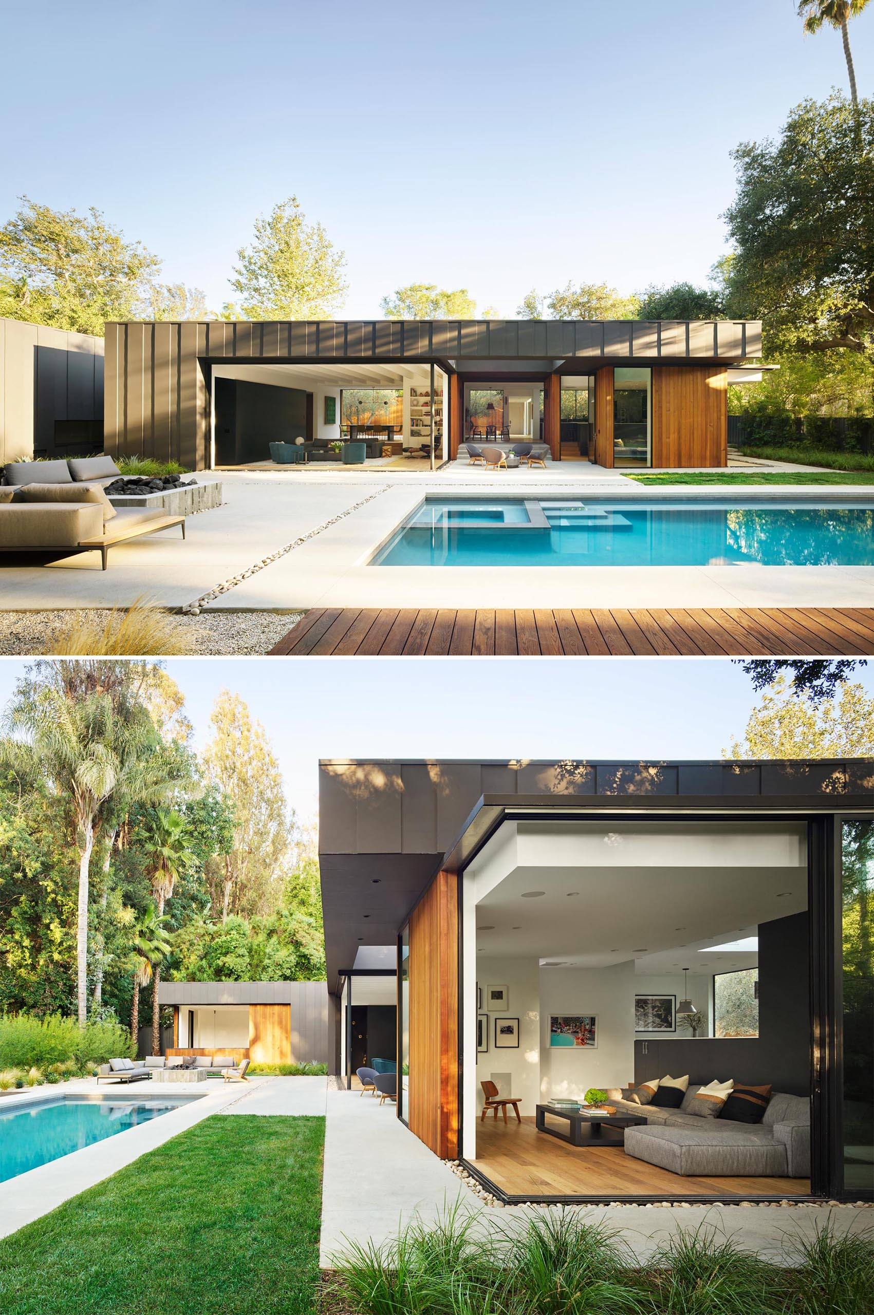 A modern house that opens up to the yard and swimming pool.