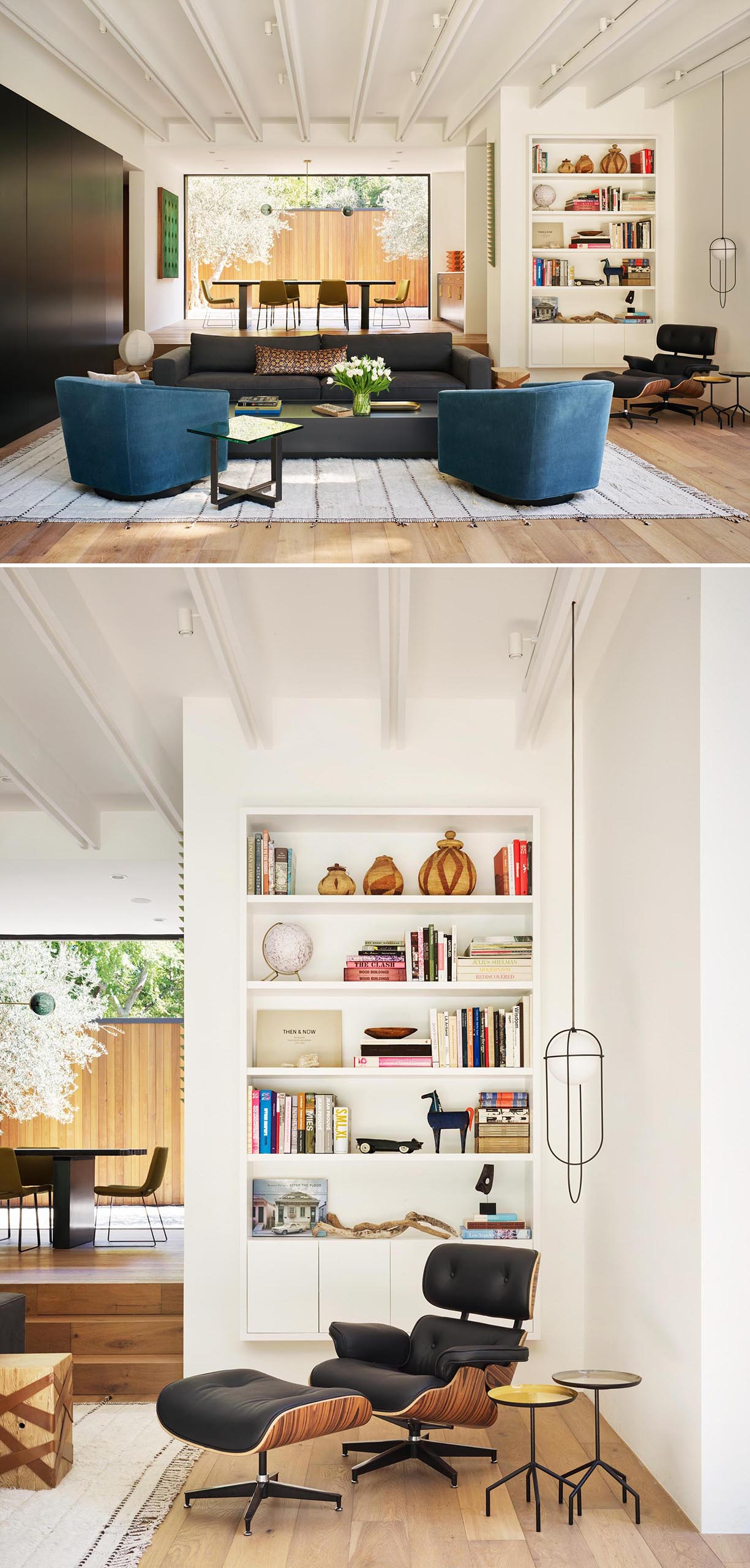 A modern living room with a reading area that has a built-in bookshelf.