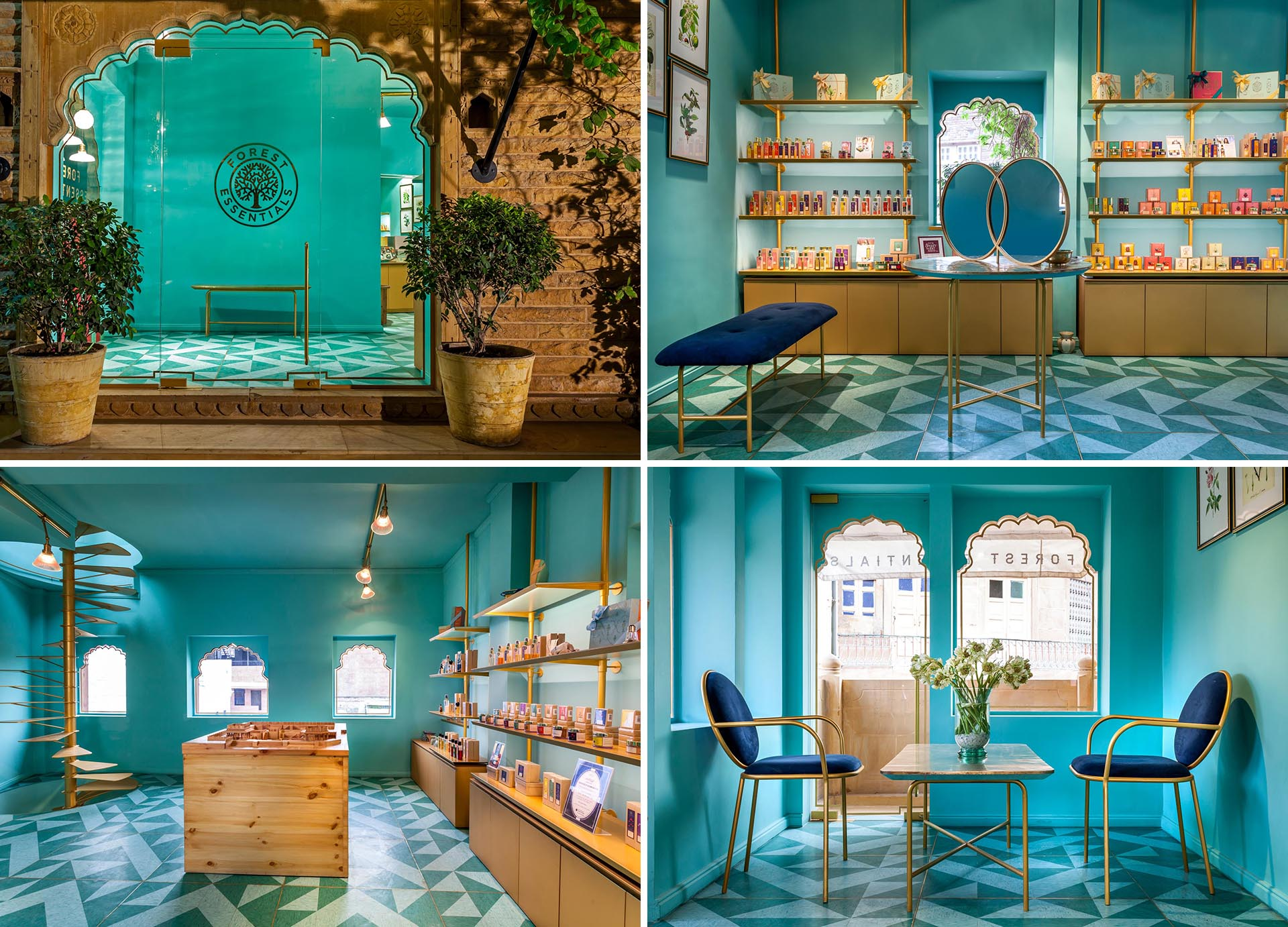 A modern retail store with teal blue walls.