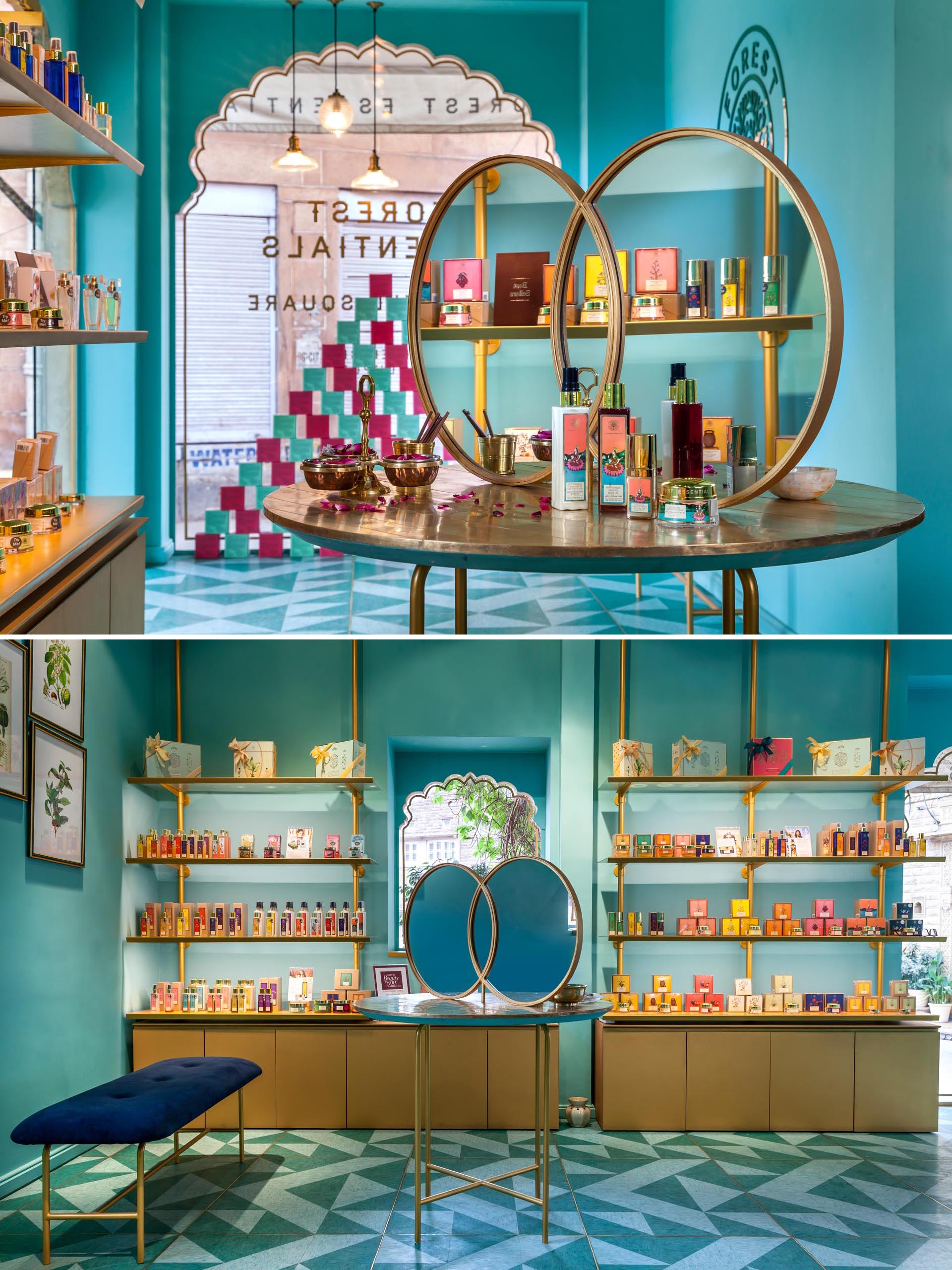 A modern retail store with bright teal blue/green walls and gold accents.