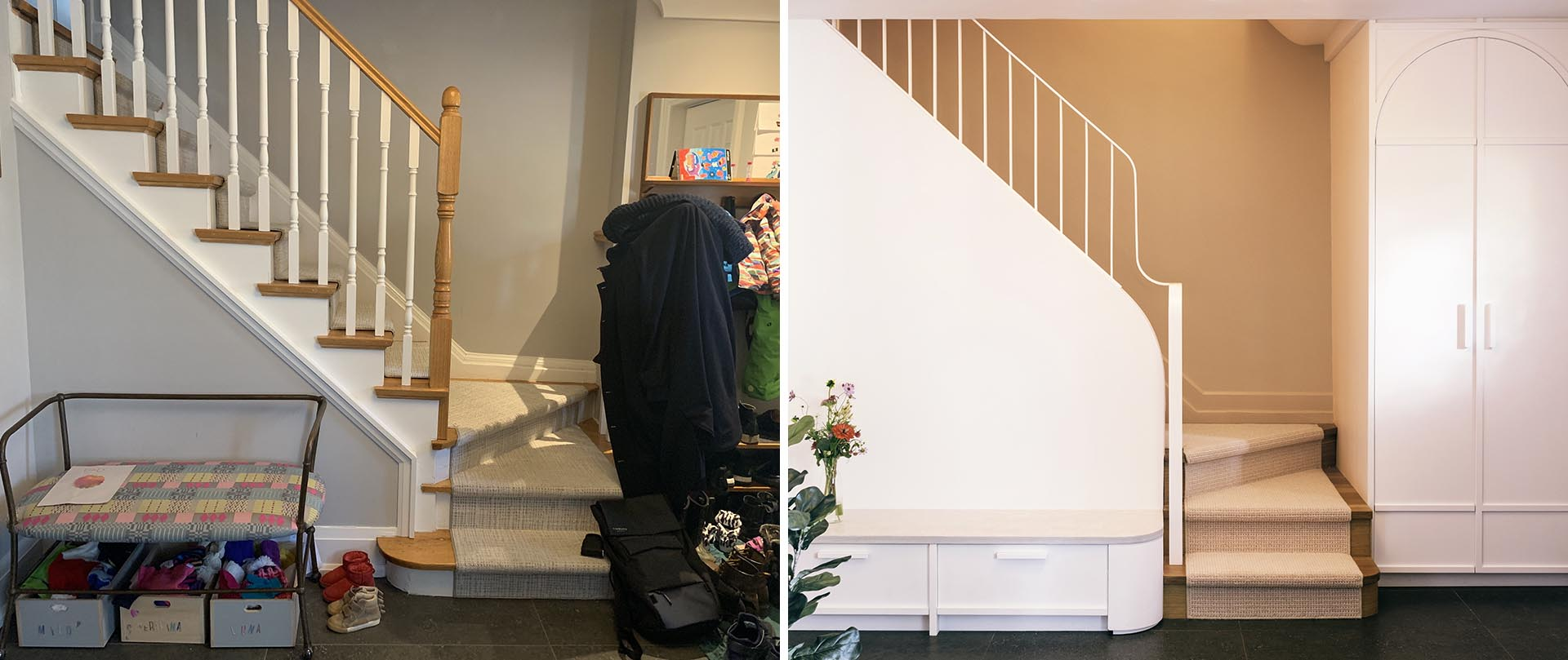 A renovated stairway now includes a built-in bench and extra deep closet.