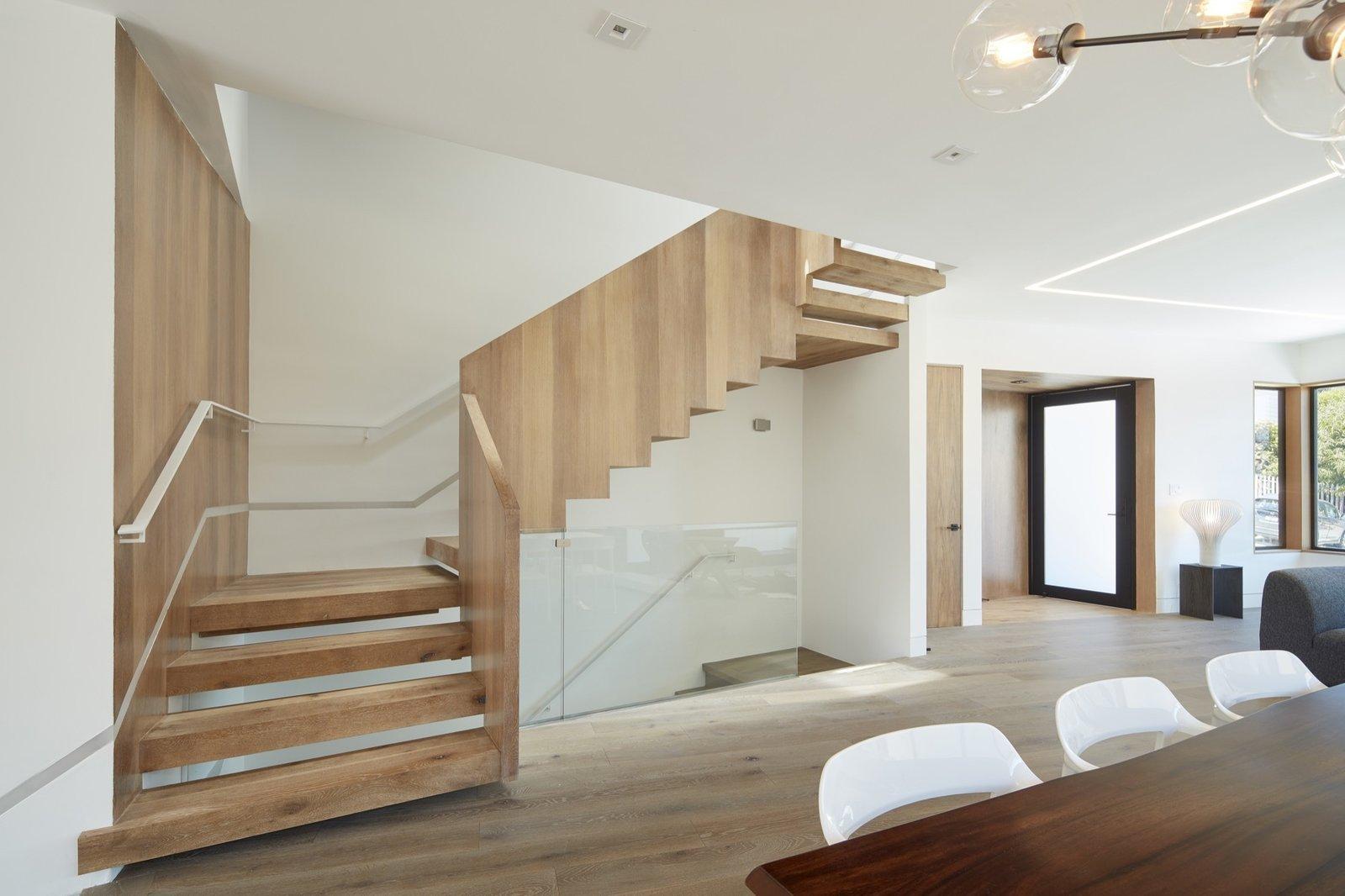 Modern wood stairs.