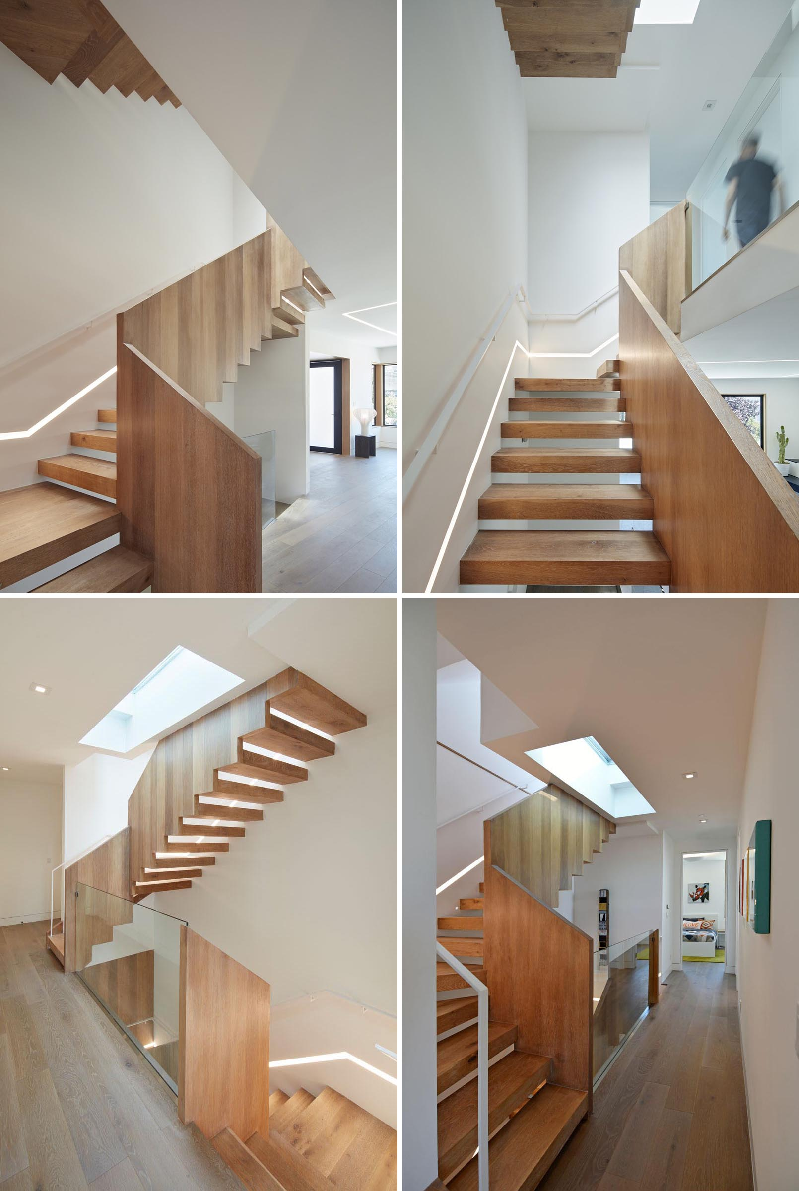 Modern wood stairs with lighting built into the wall.