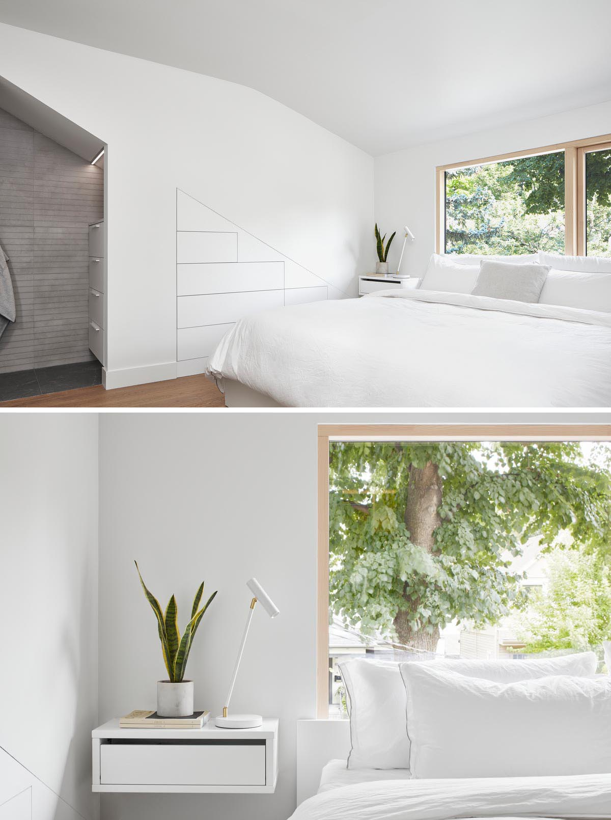 A modern Scandinavian bedroom design with built-in storage in the wall, and in a small alcove.