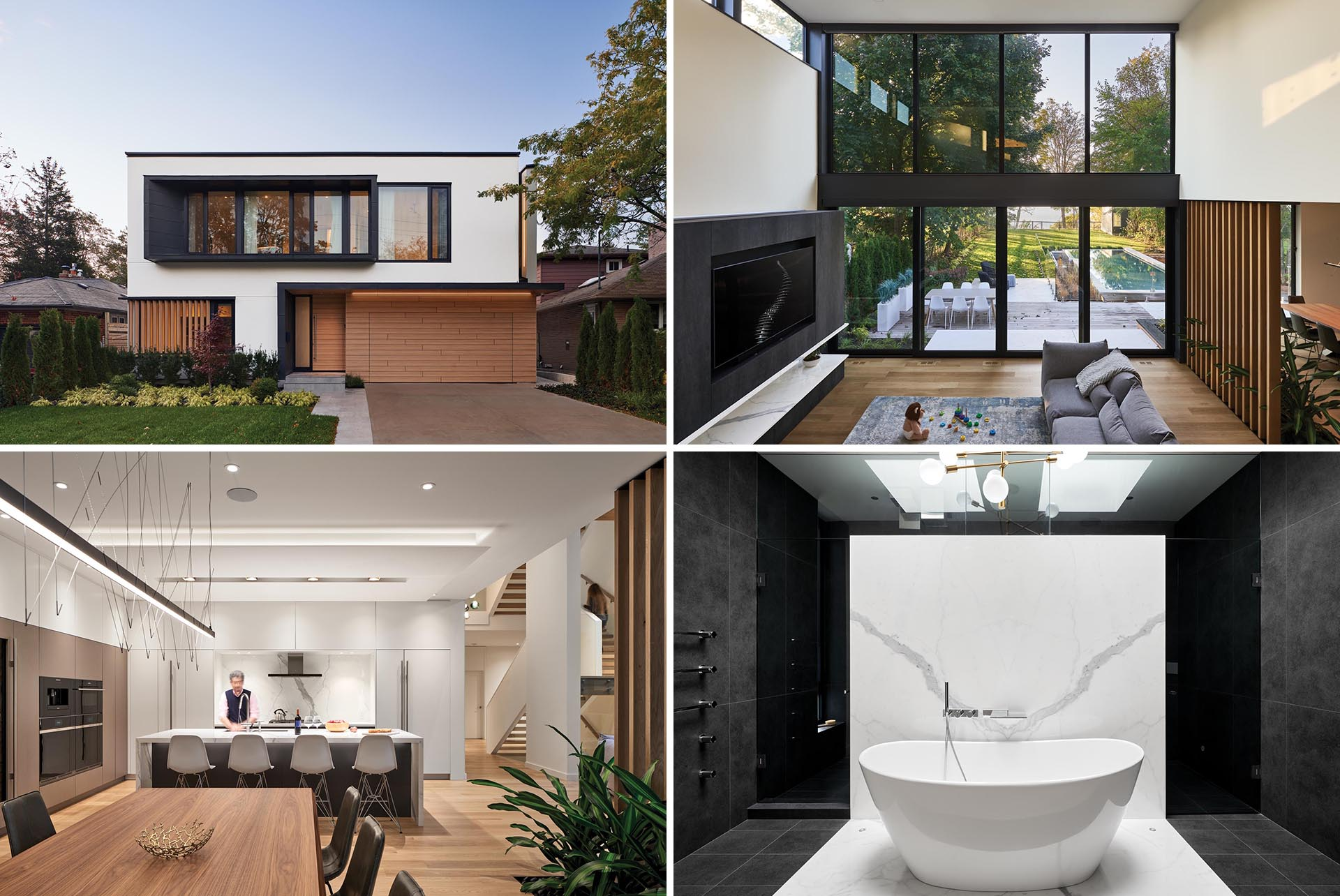 A modern house with a double-height ceiling, a bright interior, and a dramatic master bathroom.