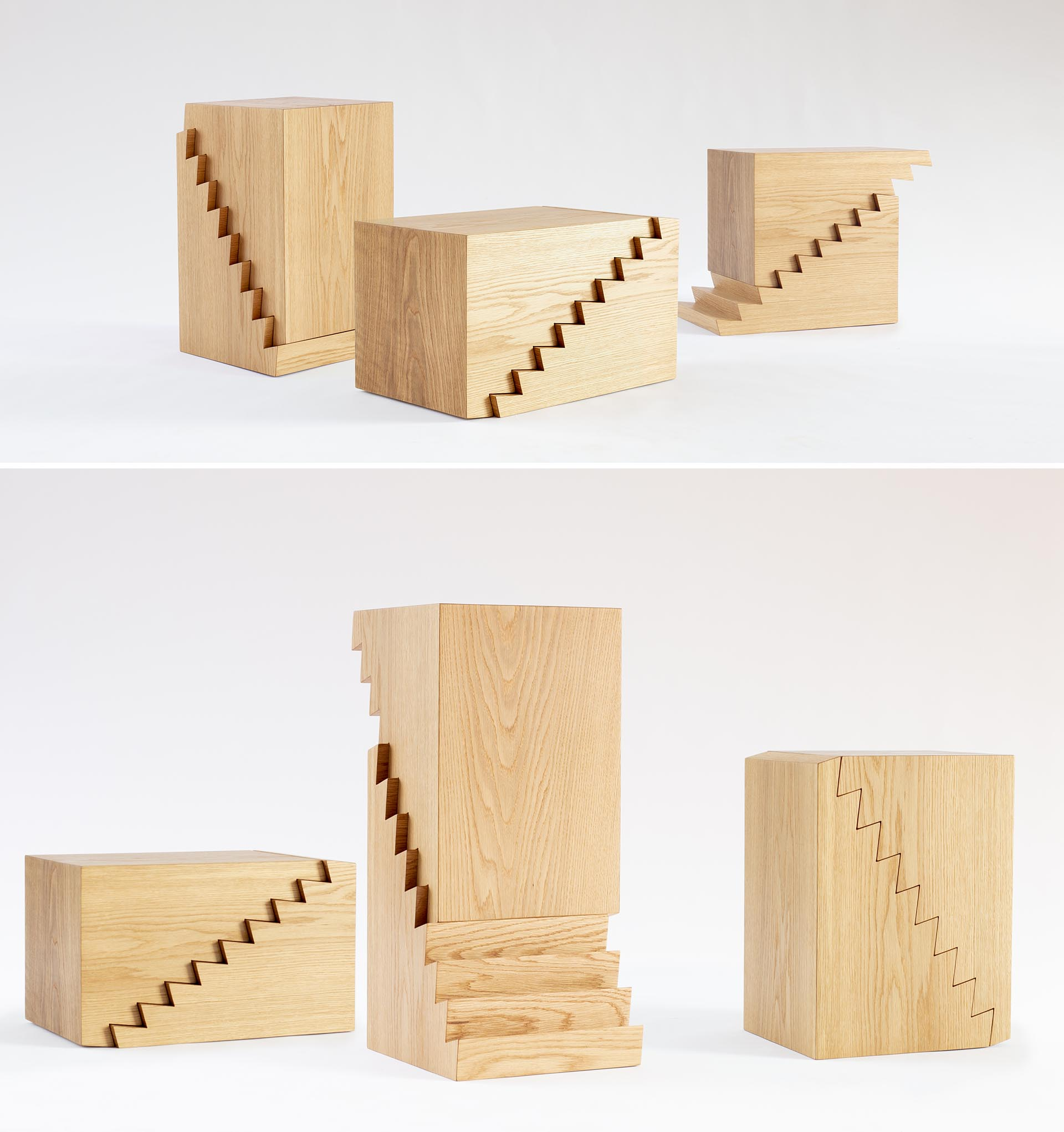 A modern wood side table with a saw-tooth design, that can also double as a stool or laptop stand.