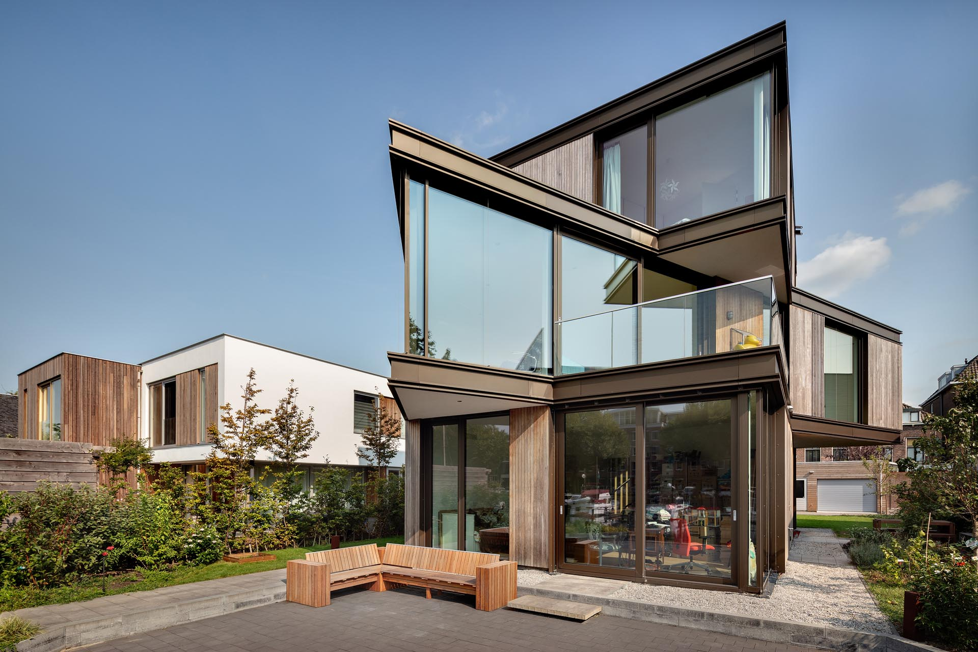 An Angular Second Floor Gives This Home A Unique View Of The Water