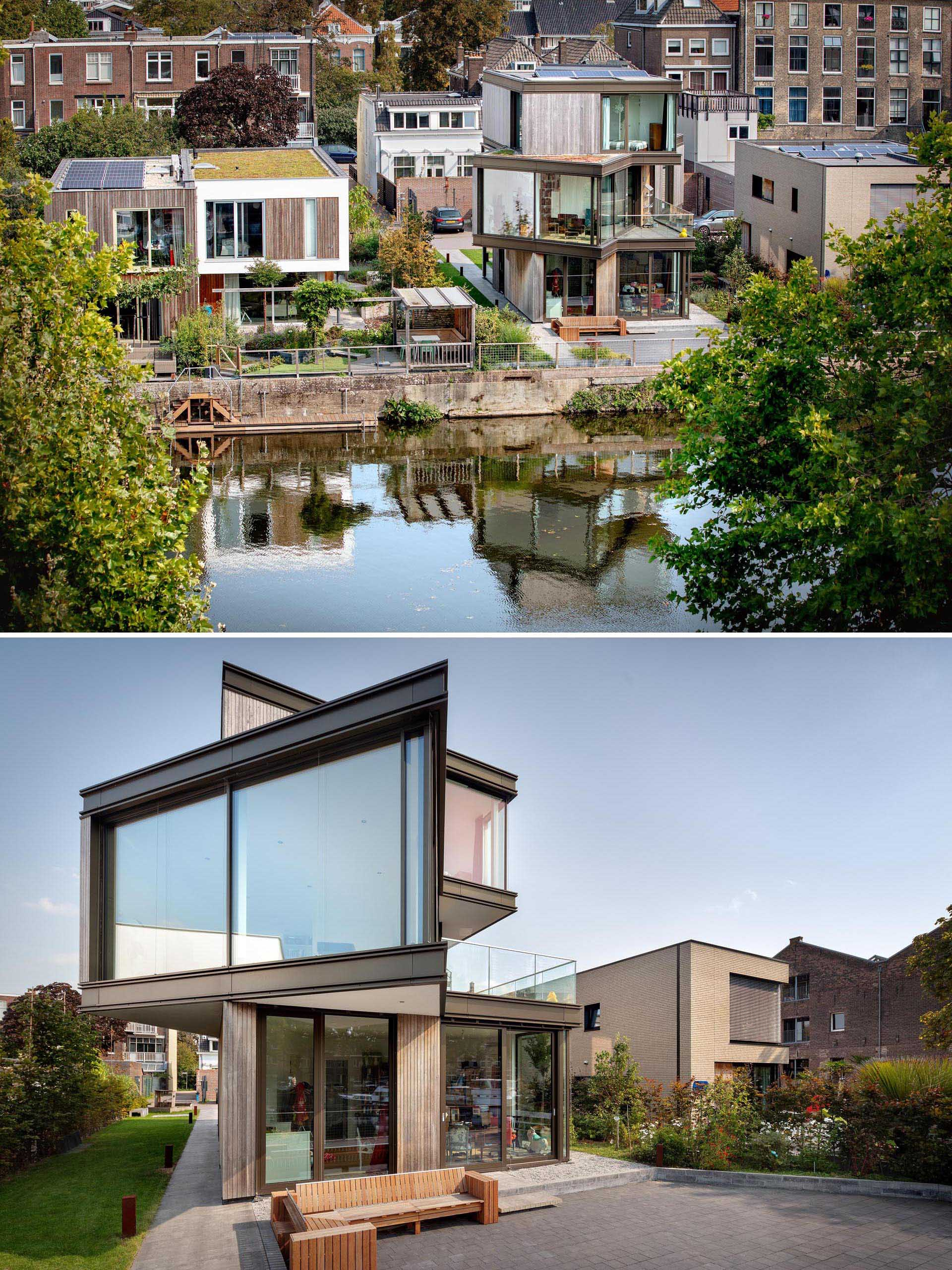 A modern house with an angled middle floor.