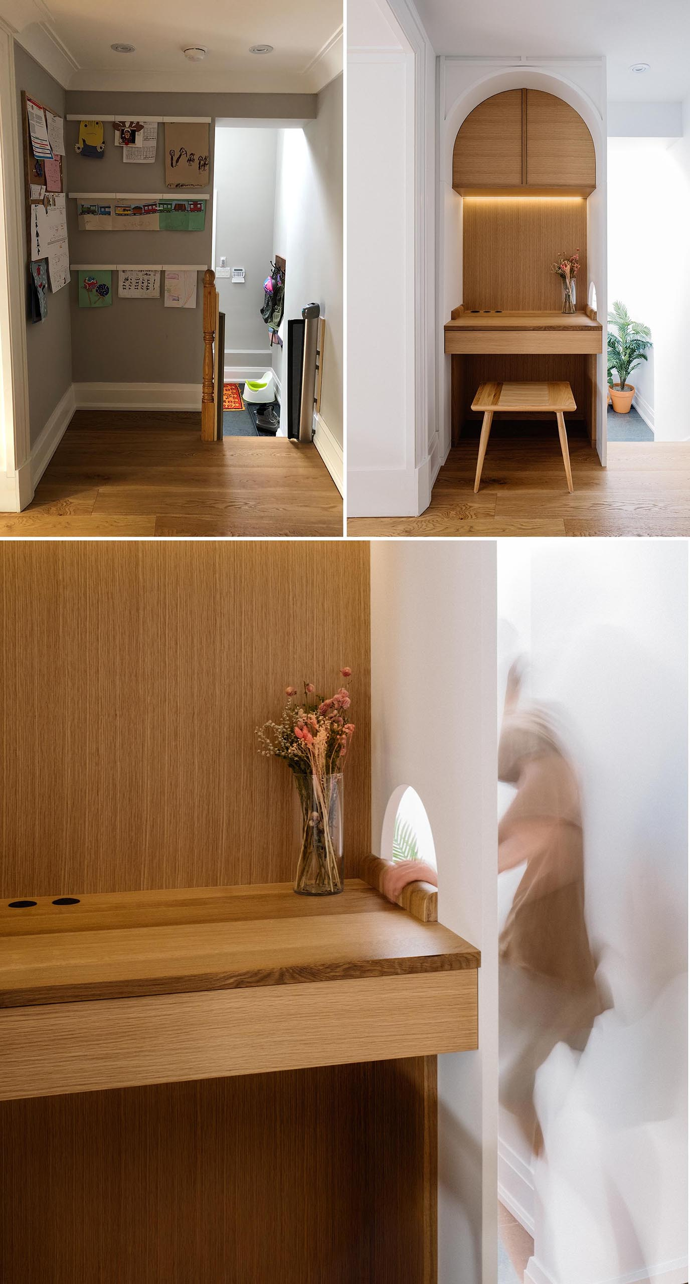 An awkward space was transformed into a built-in desk for working at home.