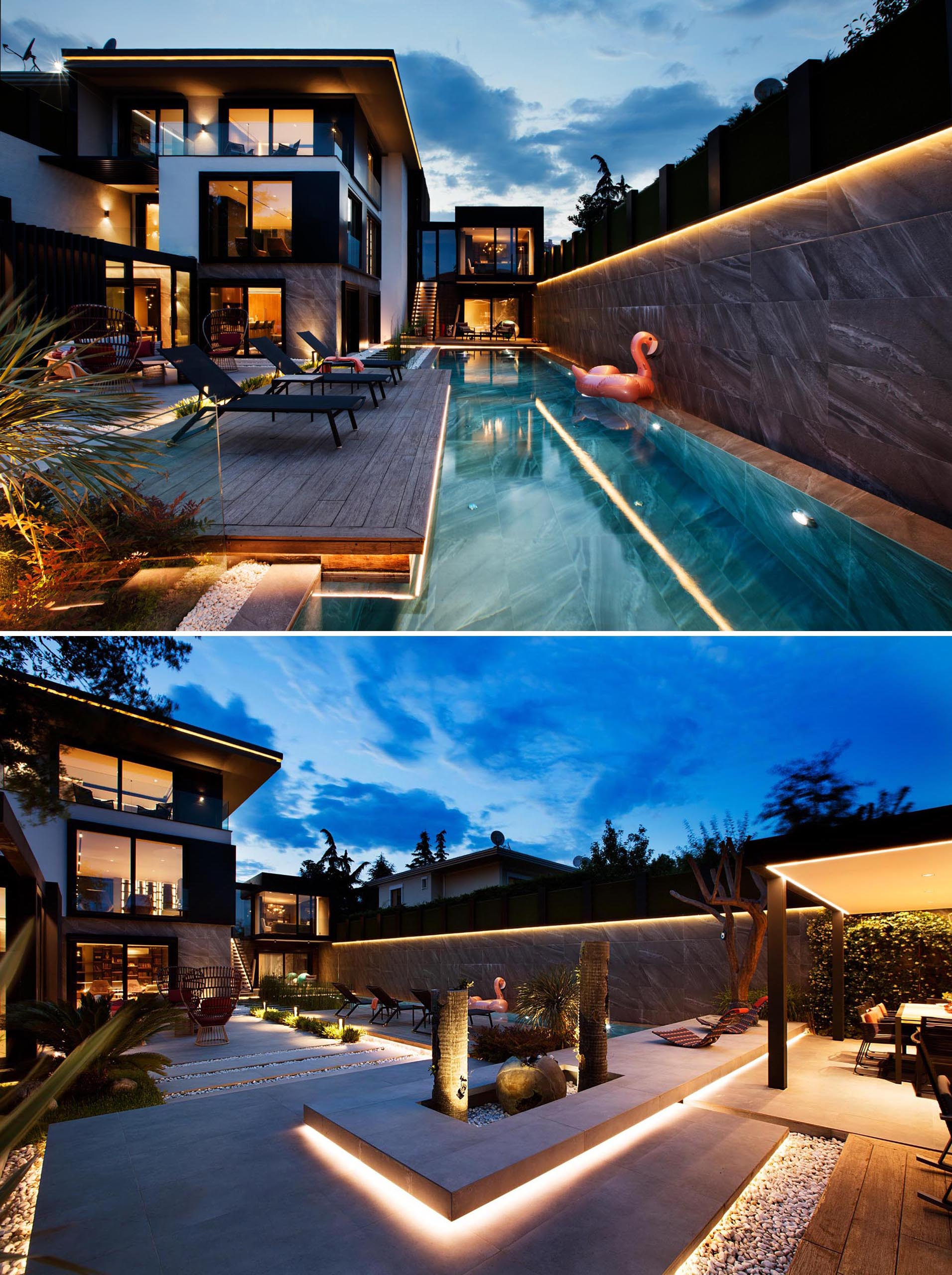 A modern house and swimming pool with extensive hidden lighting.