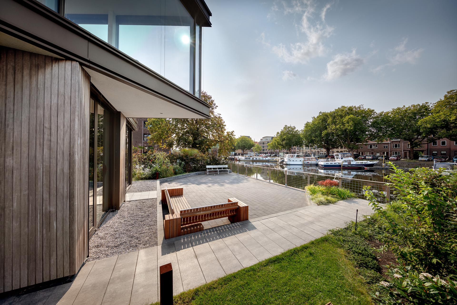 A patio that looks out to a waterway.