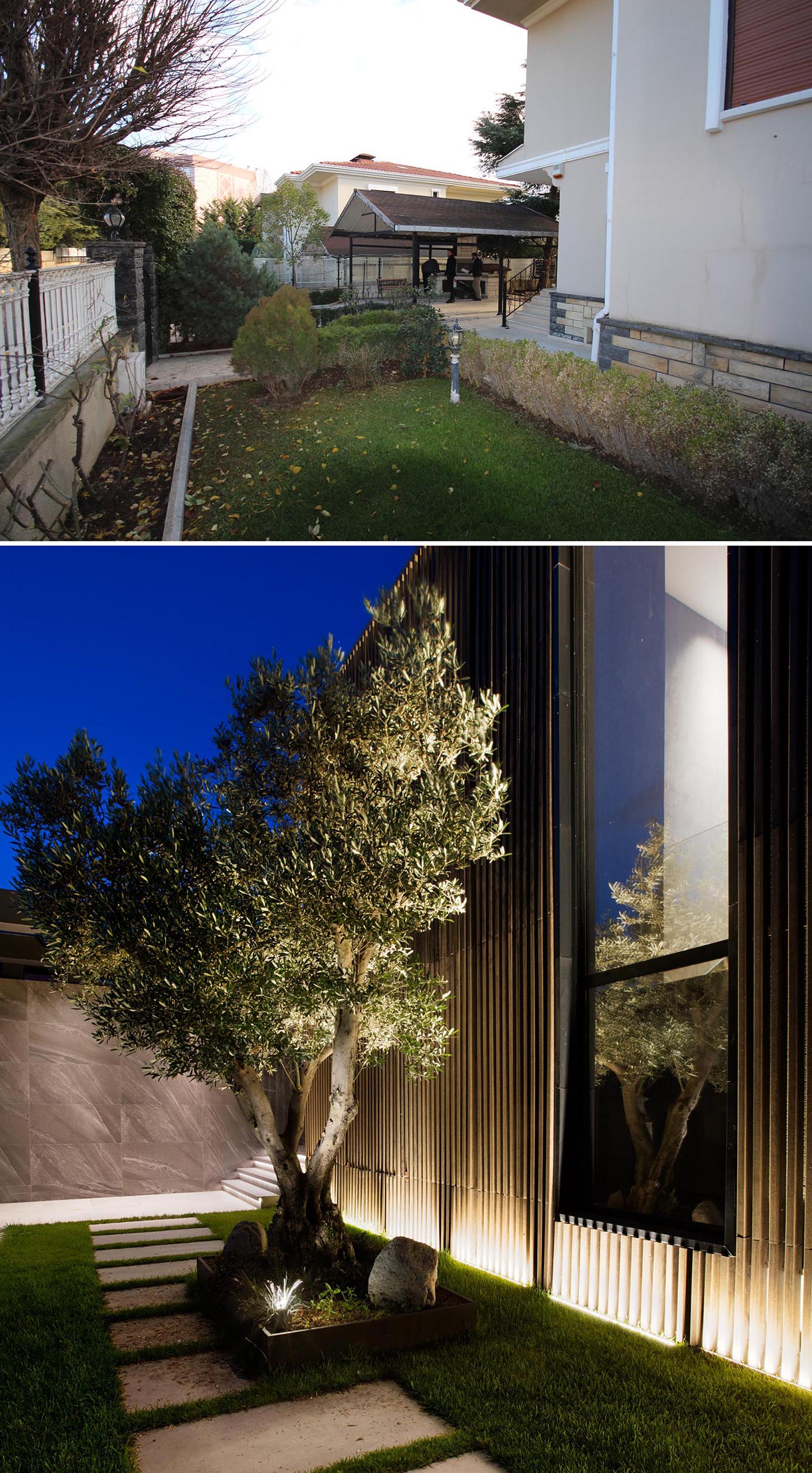 A yard renovation that includes a new garden path, large tree, and exterior lighting.
