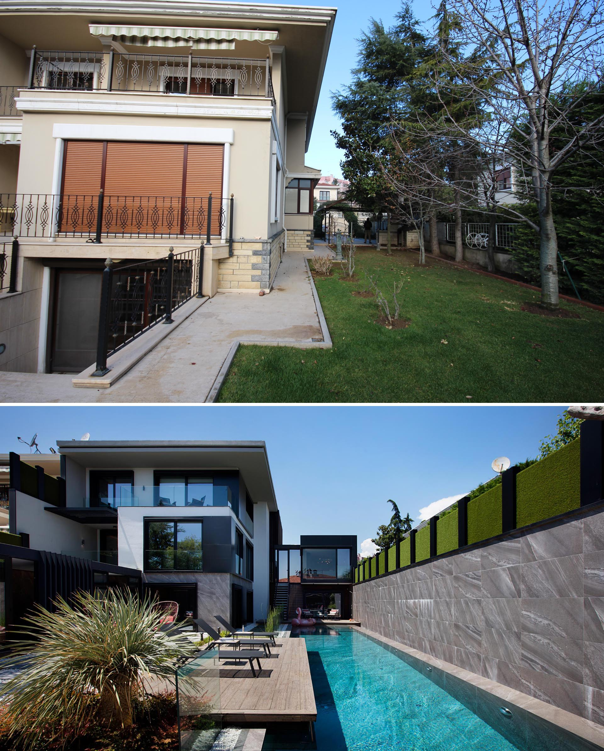 A house and yard renovation includes a new side path and swimming pool.